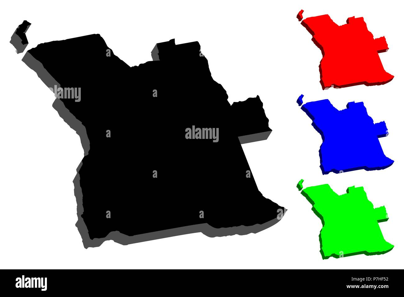 3D map of Angola (Republic of Angola) - black, red, blue and green - vector illustration - Stock Image