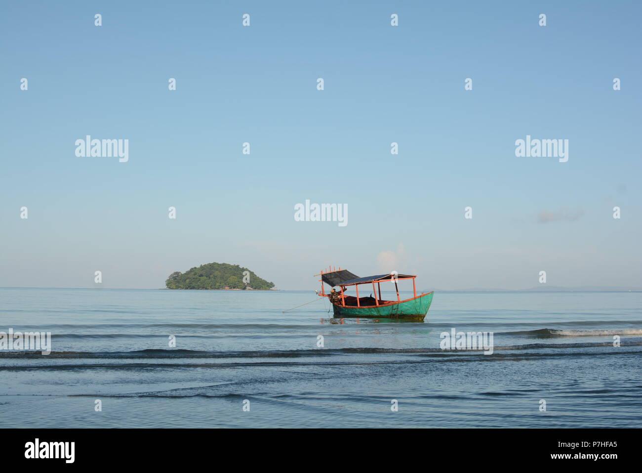 Early morning on the Otres beach 2 , Sihanoukville, Cambodia - Stock Image