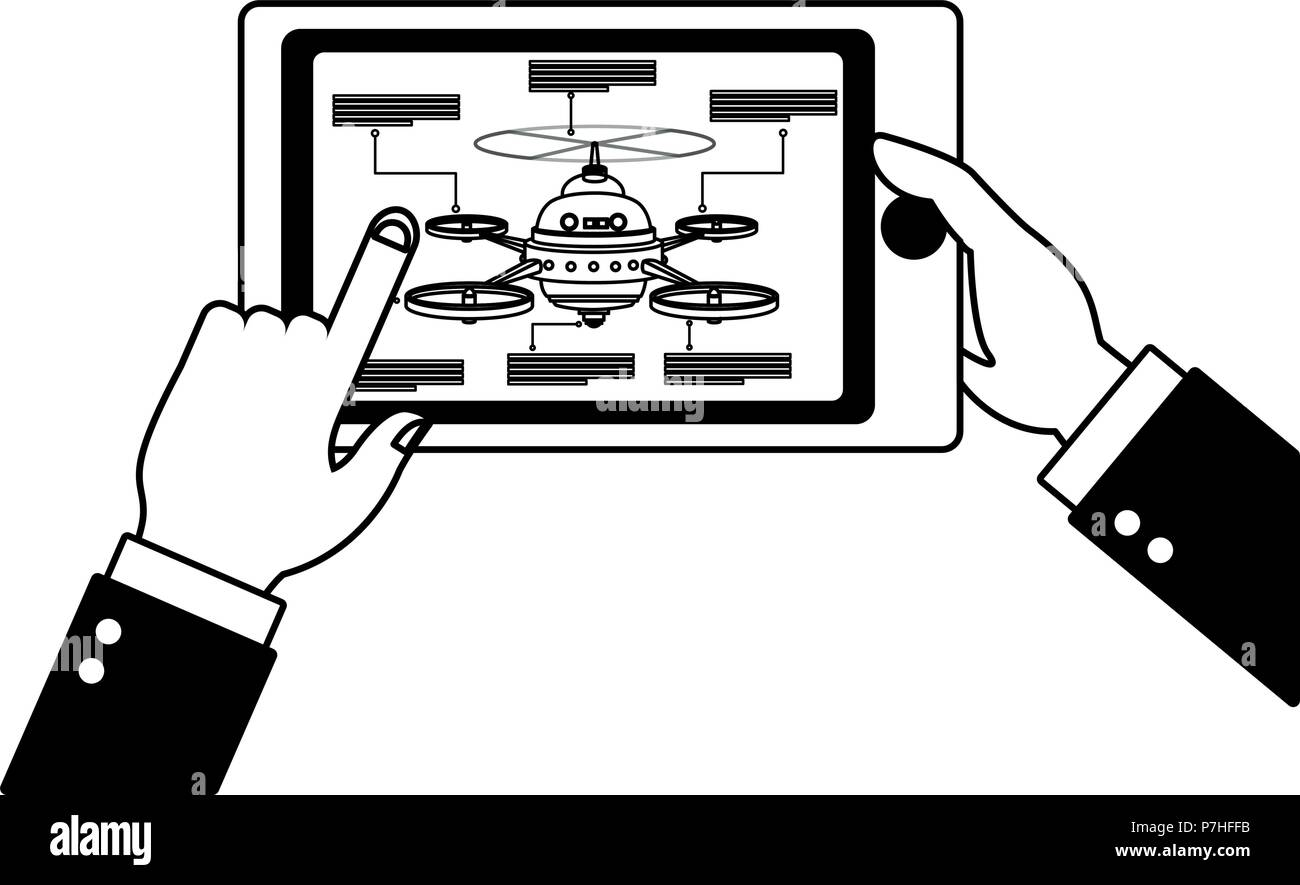 Hands controlling drone from tablet vector illustration graphic design - Stock Image