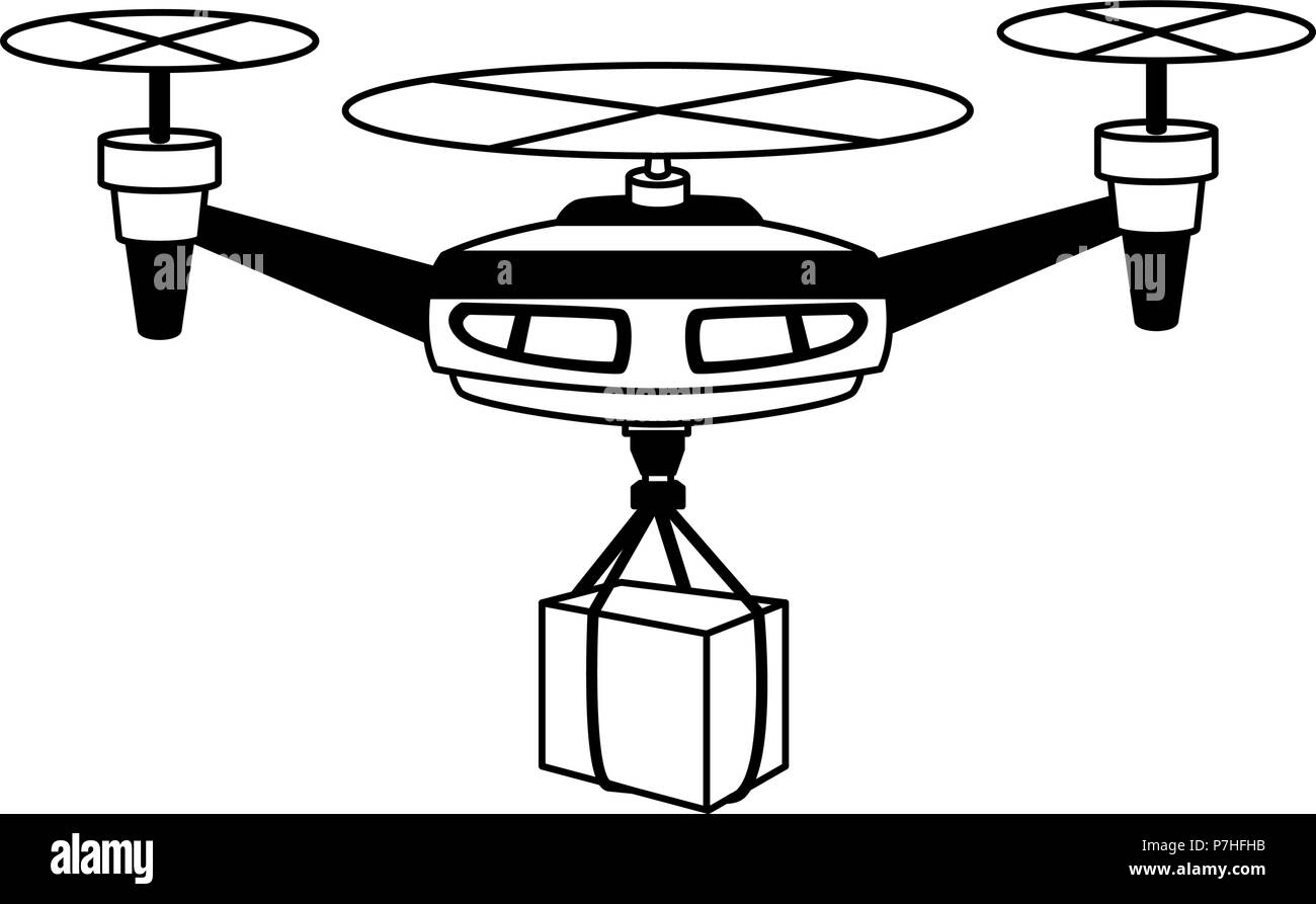 Drone with box vector illustration graphic design - Stock Image