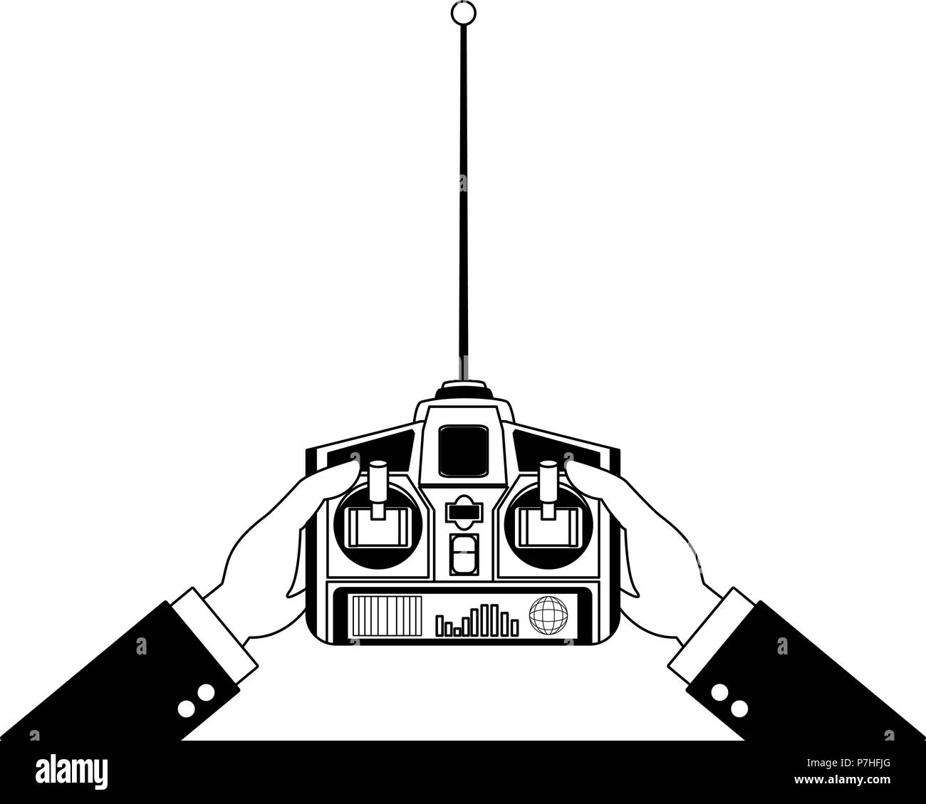 Hands using drone RC vector illustration graphic design - Stock Image