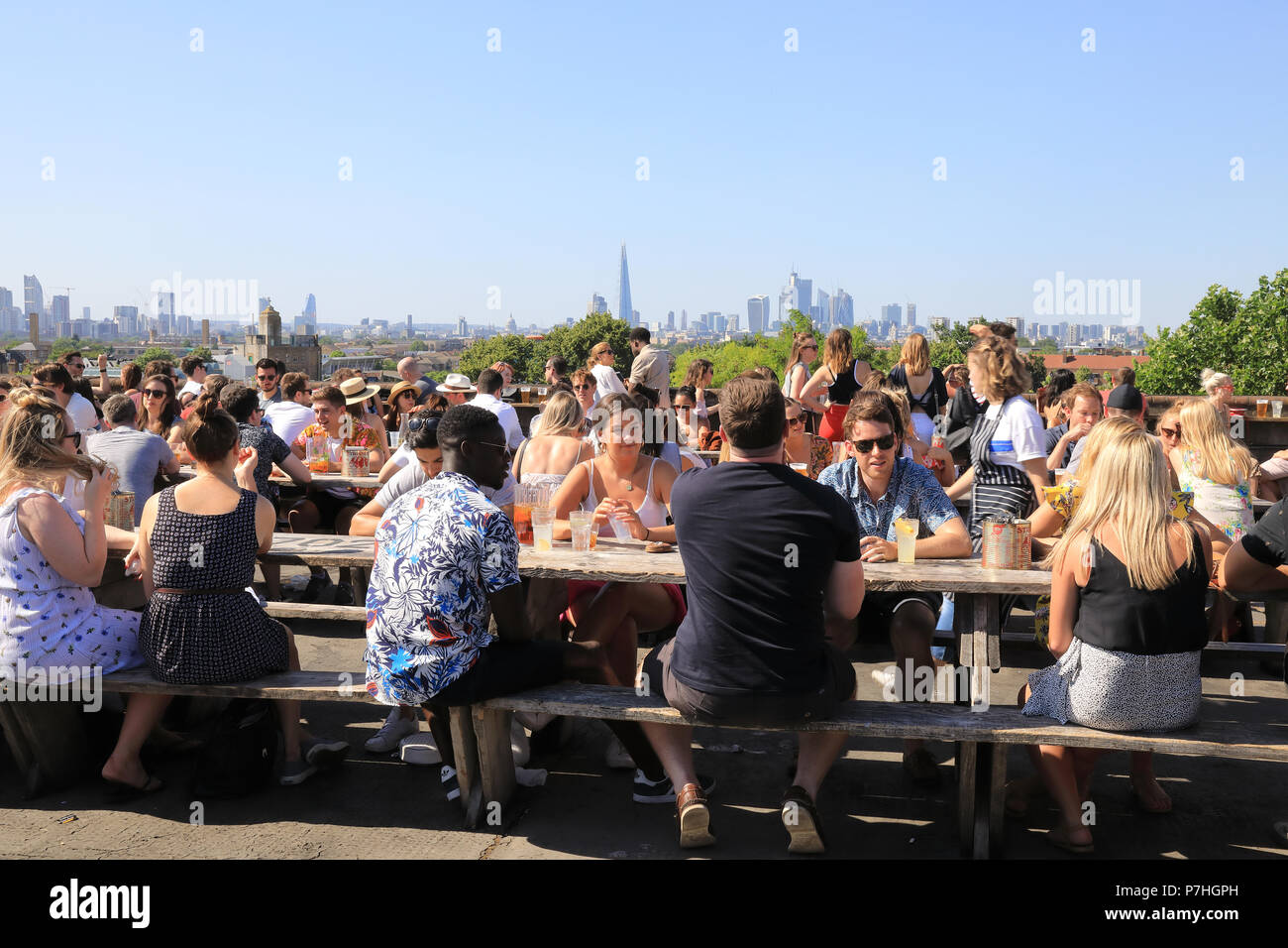 The epic, arty rooftop bar Frank's Cafe at Bold Tendencies, on Rye Lane, in Peckham, south London, UK - Stock Image