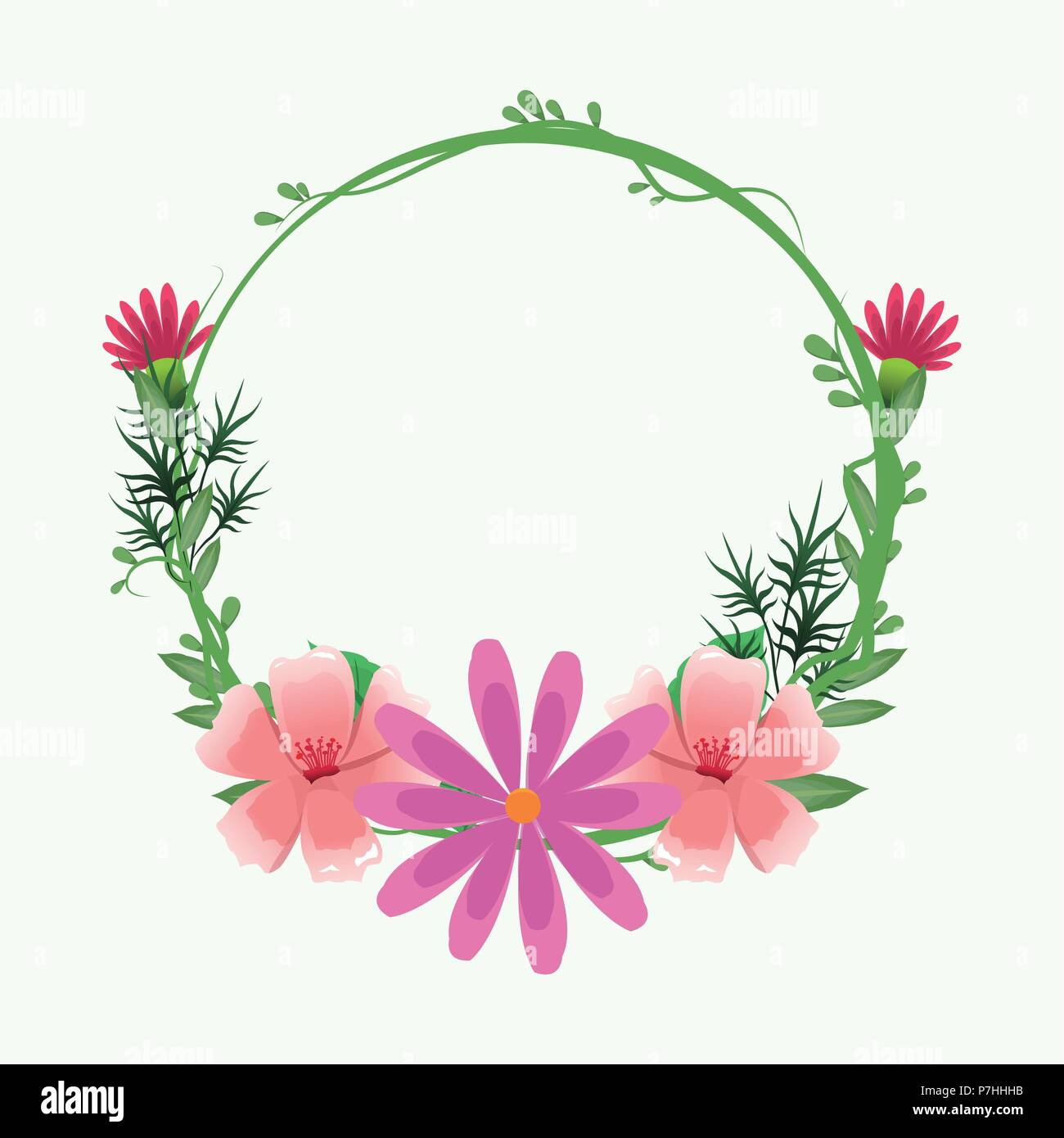 Decorative Round Frame Pink Flowers With Leaves Vector Illustration