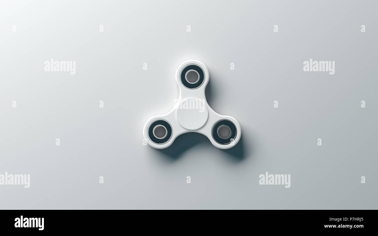 blank white fidget spinner mock up top view 3d rendering clear