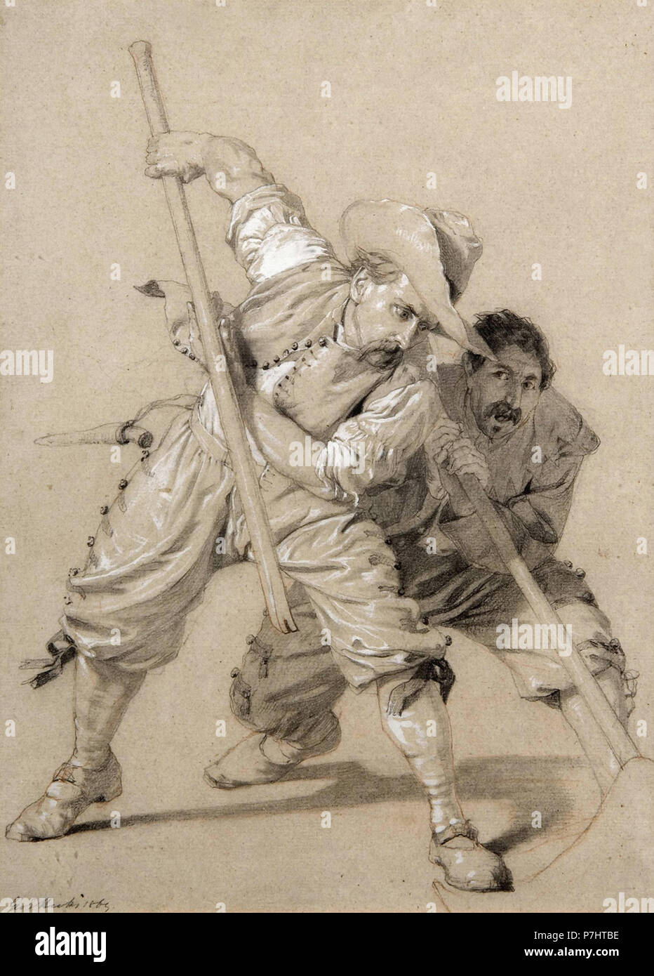 Hicks  George Elgar - Two Men  Engaging in Physical Labour - Stock Image