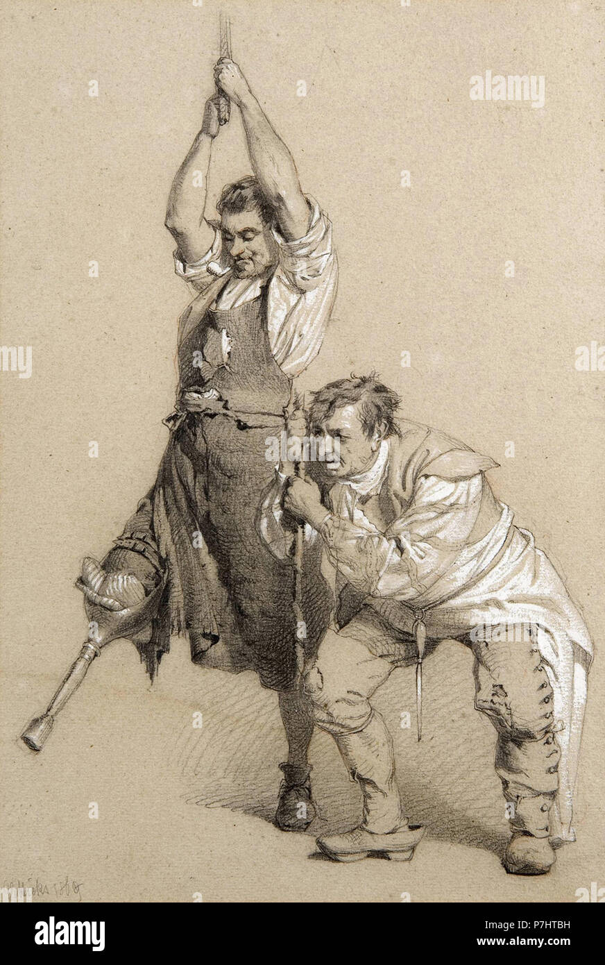 Hicks  George Elgar - Two Men  One with a Wooden Leg  Engaging in Physical Labour - Stock Image