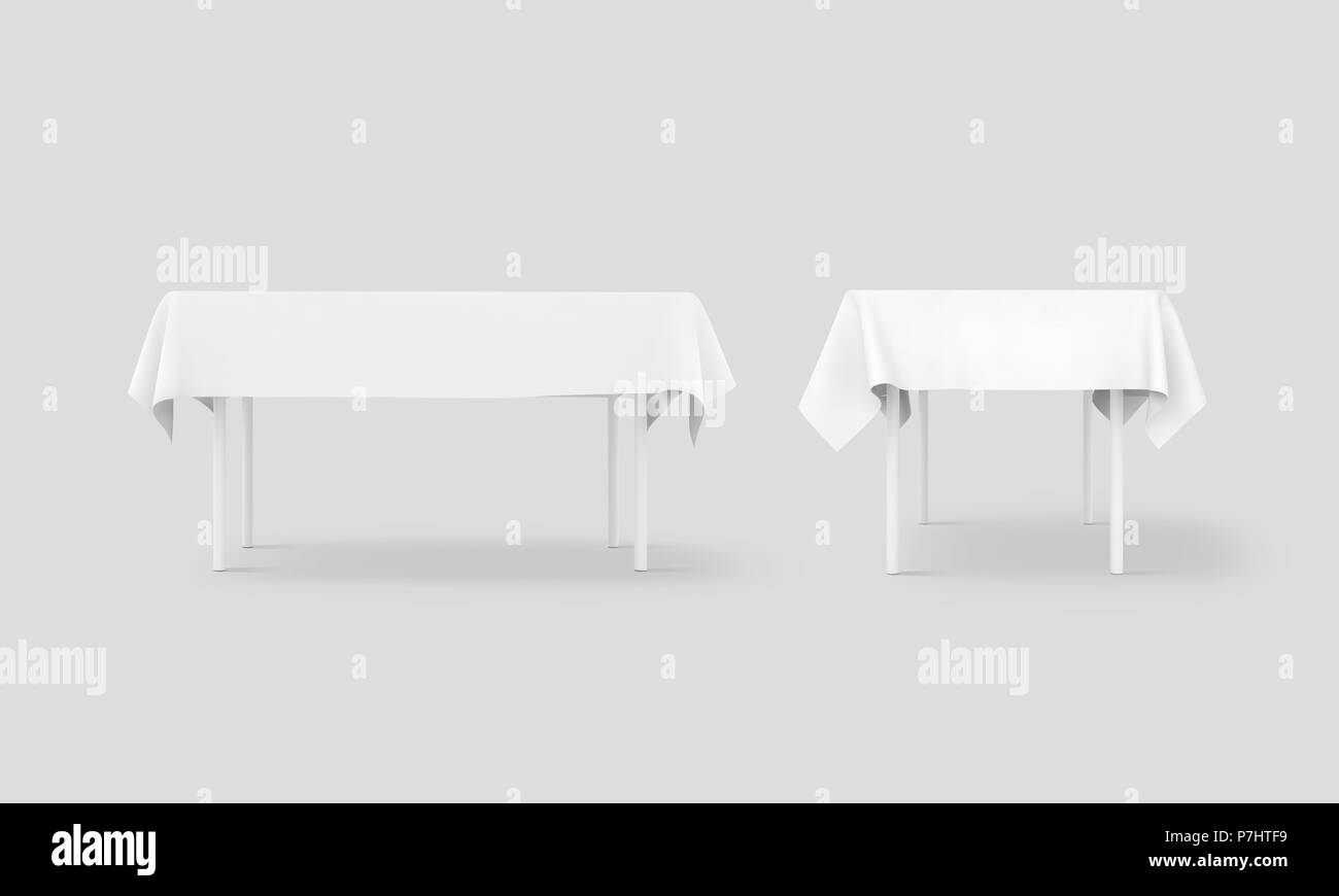 bank white table cloth mock up set clipping path 3d rendering