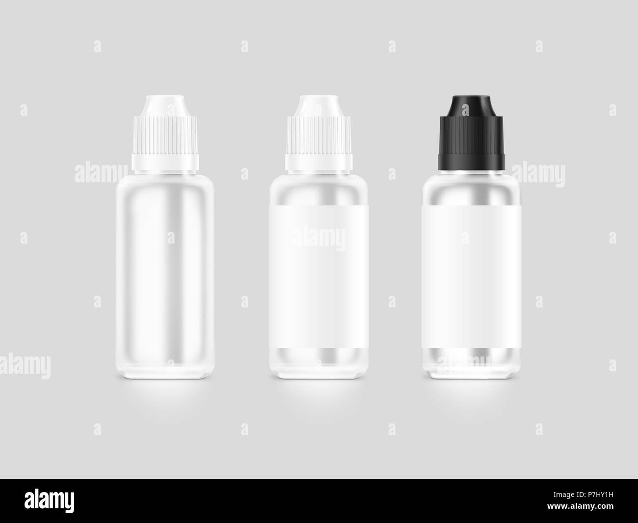 Blank white vape liquid bottle mockup isolated, clipping path, 3d illustration. Clear vapor juice flacon mock up template. Vaporizer dropper flavor vi Stock Photo