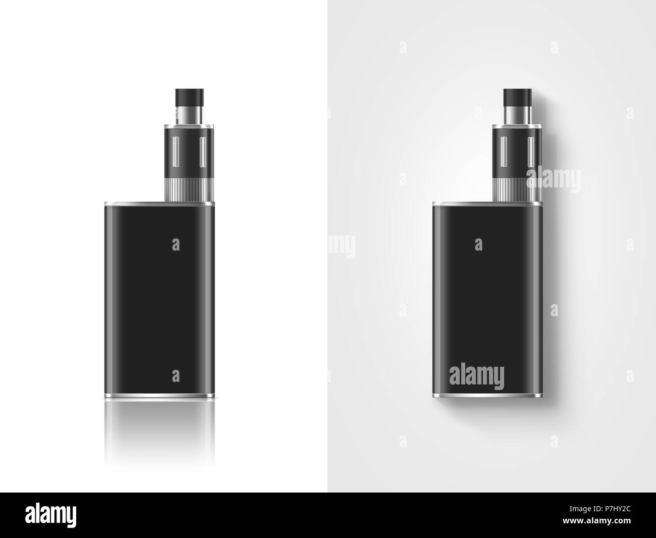 Blank black vape mod box mockup isolated, clipping path, stand and lies, 3d illustration. Clear smoking vapor mock up template. Modbox vaporizer devic Stock Photo