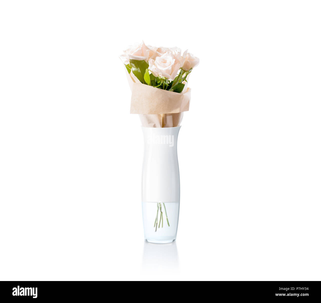 Blank white vase with flowers bouquet design mockup, clipping path ...