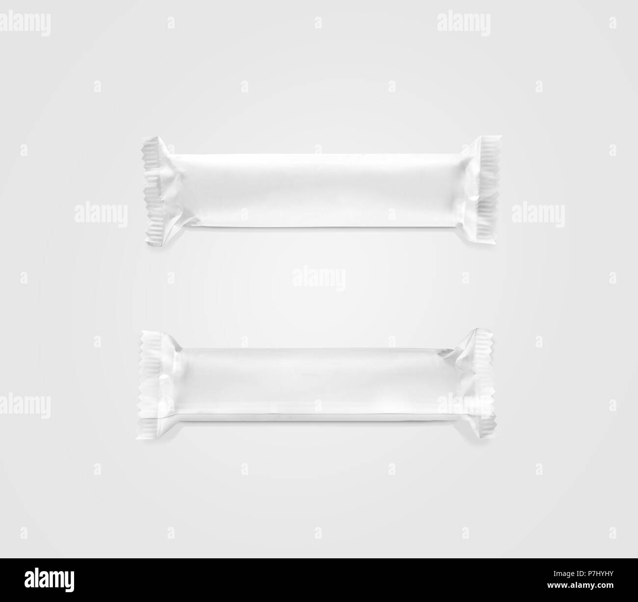 Blank white candy bar plastic wrap mockup top and back side In Blank Candy Bar Wrapper Template