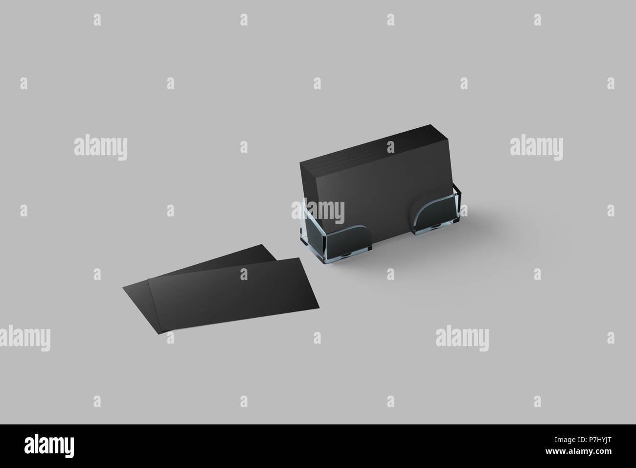 Black business card mockup in acrylic holder isolated. Plastic ...