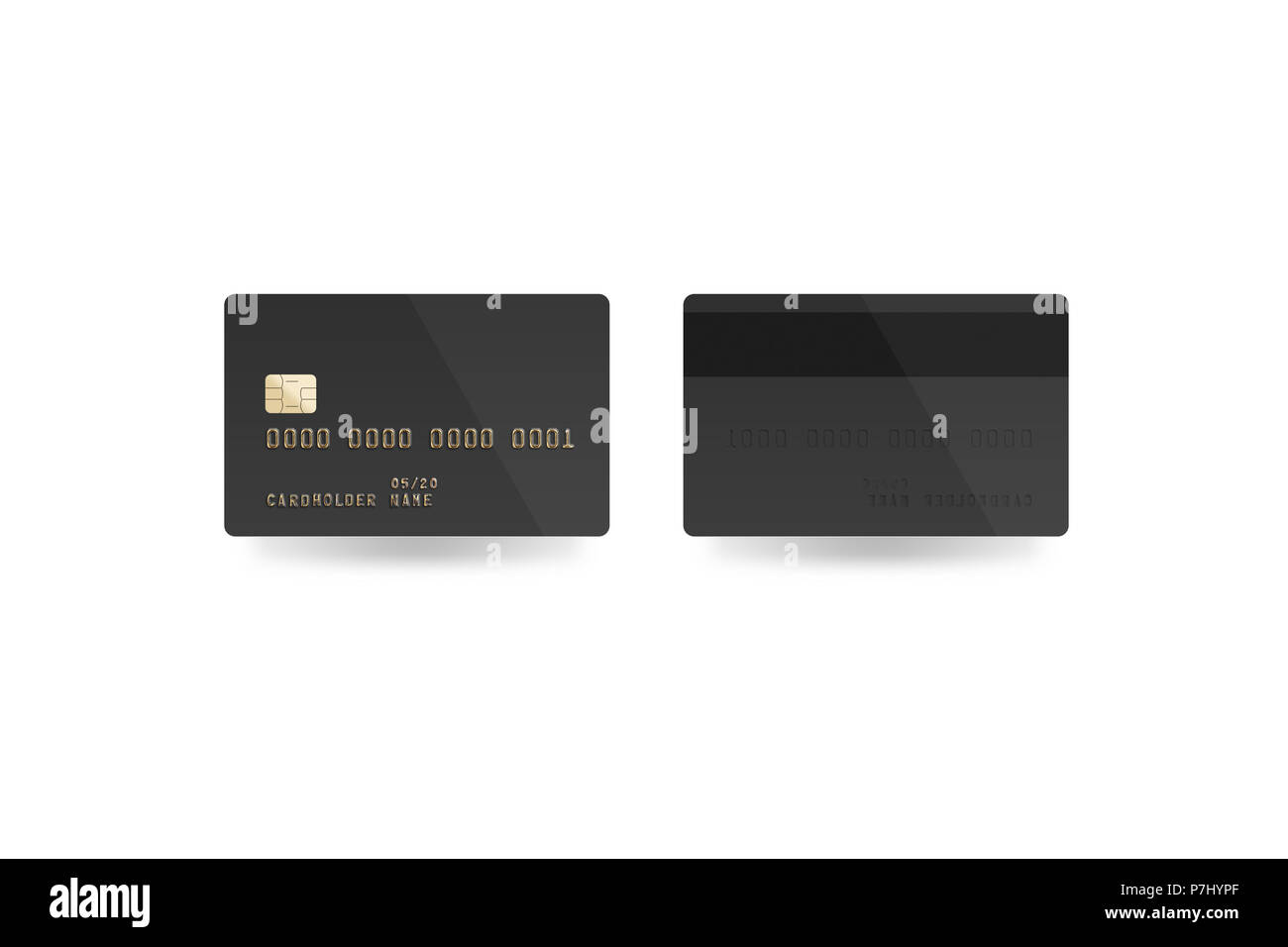 Blank Black Credit Card Mockup Isolated Clipping Path