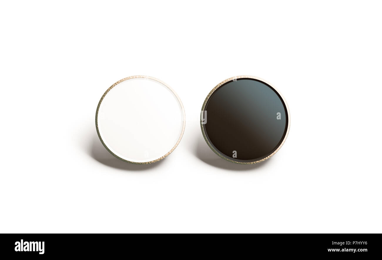 Blank black and white round gold lapel badge mock up, front