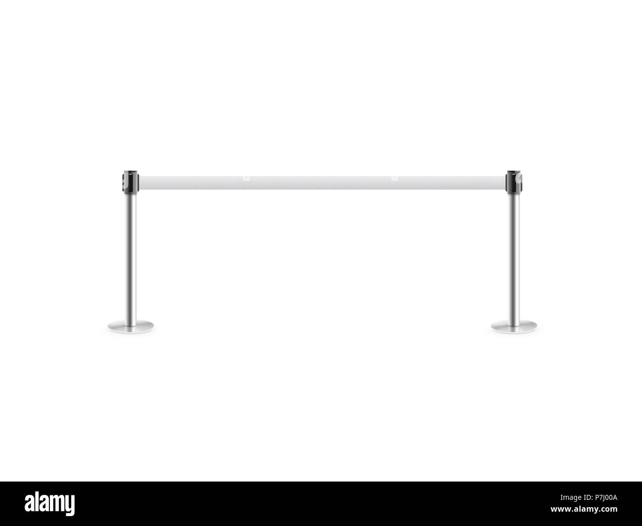 Mobile fence barrier stand isolated on white. Fencing barricade on metal chrome pole posts. Portable protective rack with ribbon stretch tape. Blank post fencing barrier belt rope. - Stock Image