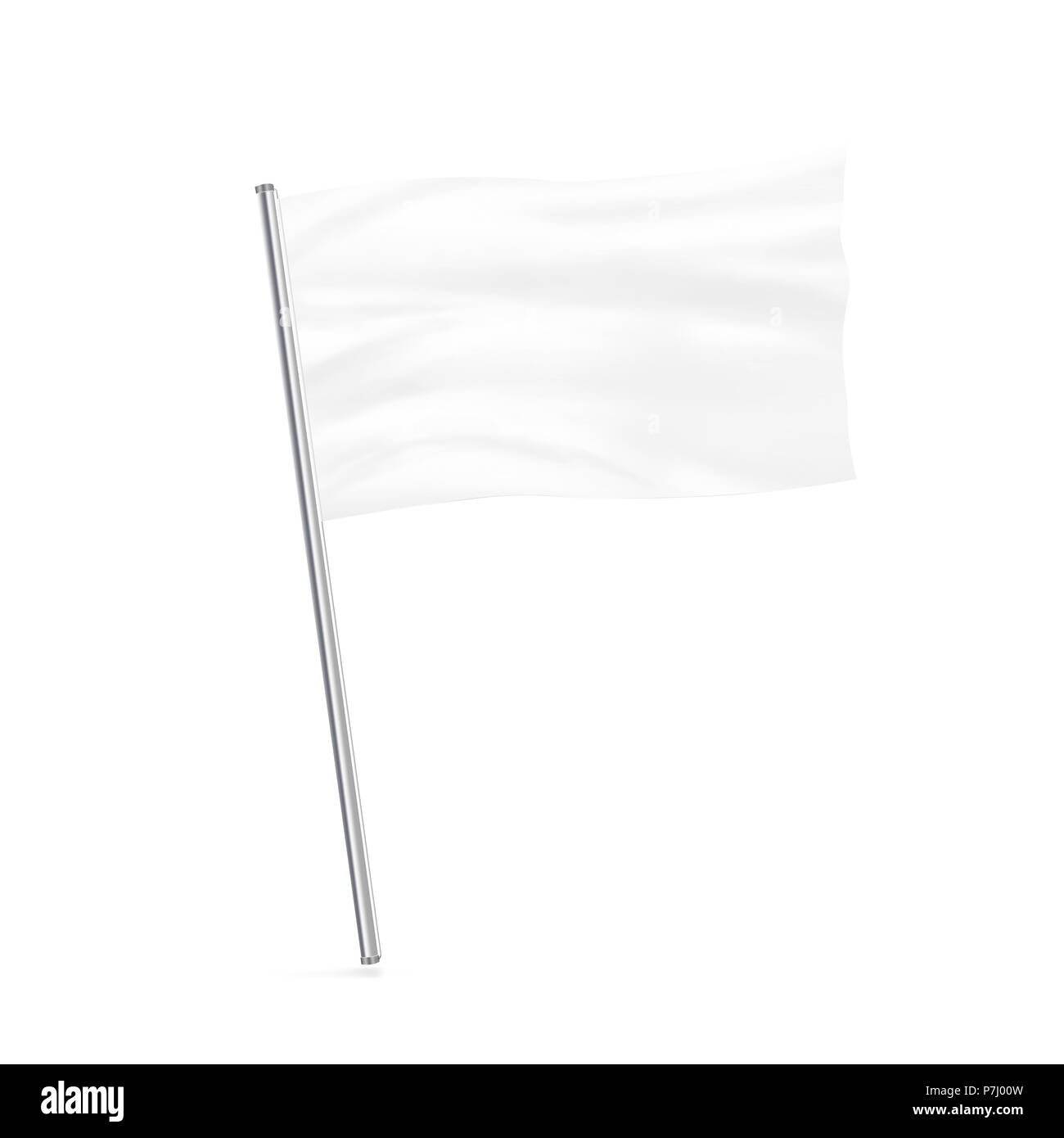Blank white flag mock up stand at white background isolated. Large wavy flagpole mockup ready for business logo design presentation. Surrender symbol empty banner. Clear standart sign. - Stock Image
