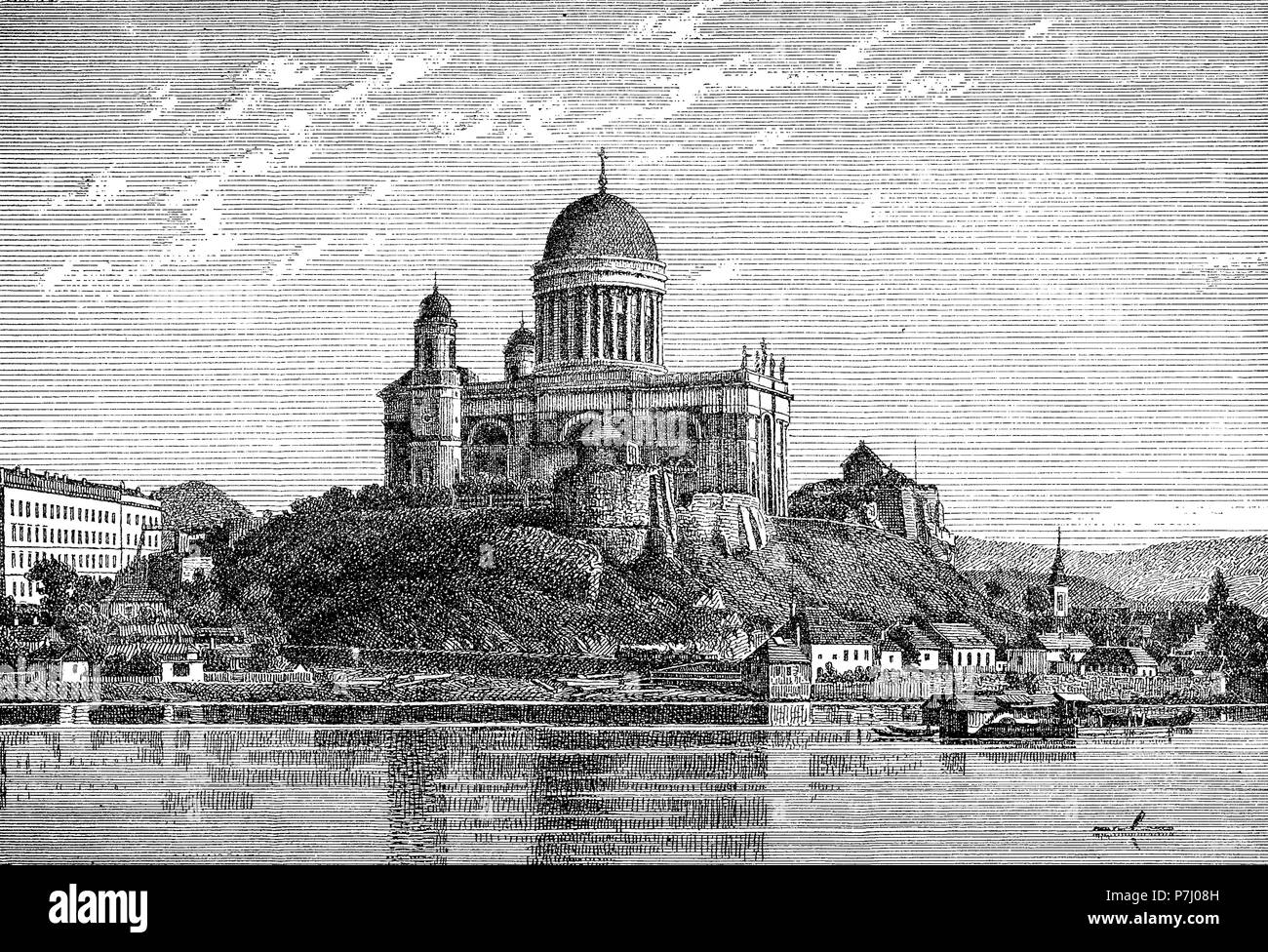 Vintage view of Esztergom cathedral on Danube river,the largest church in Hungary, monumental construction in Hungarian Classicism style built in XIX century - Stock Image
