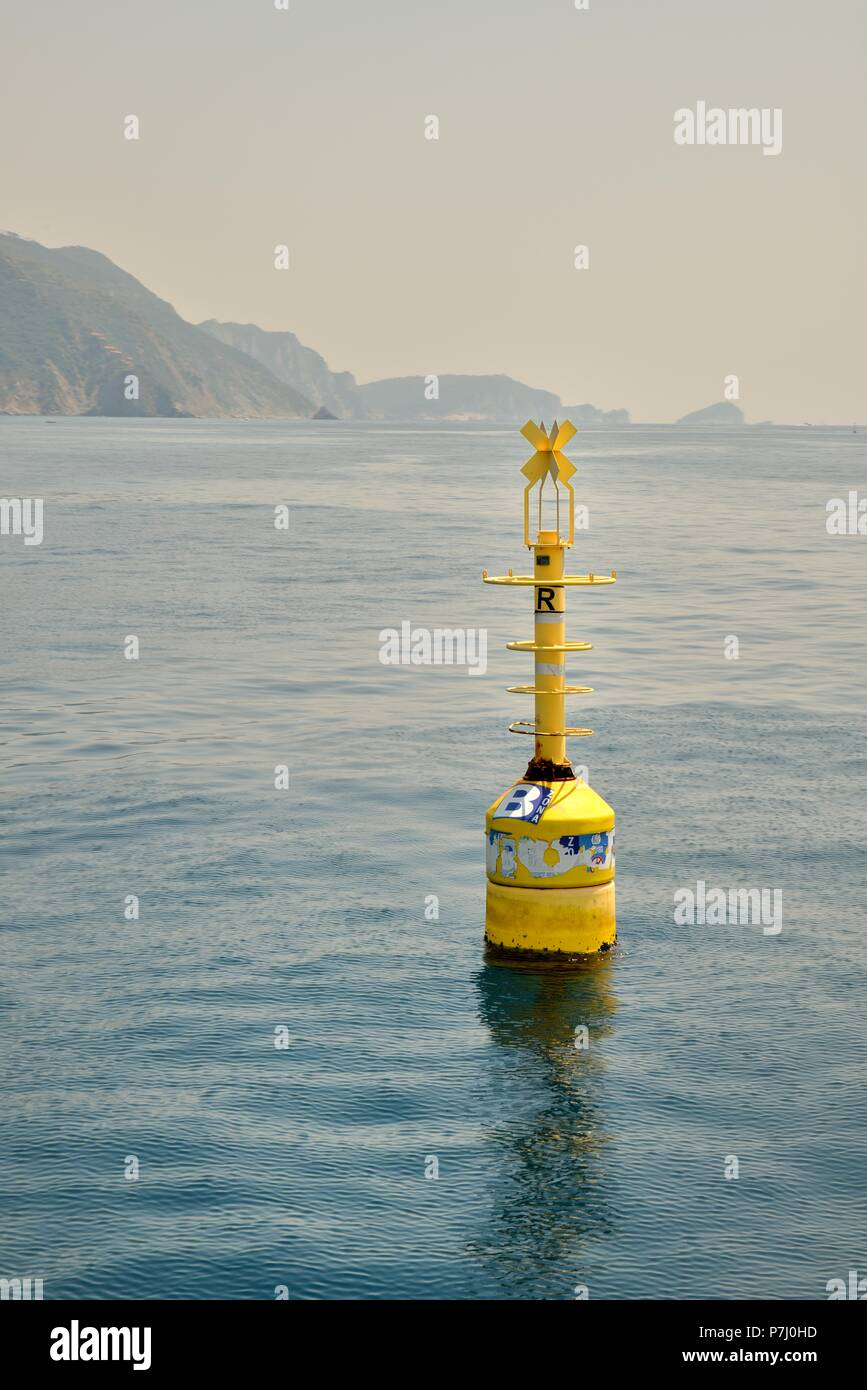cinque terre marine protected area yellow buoy - Stock Image