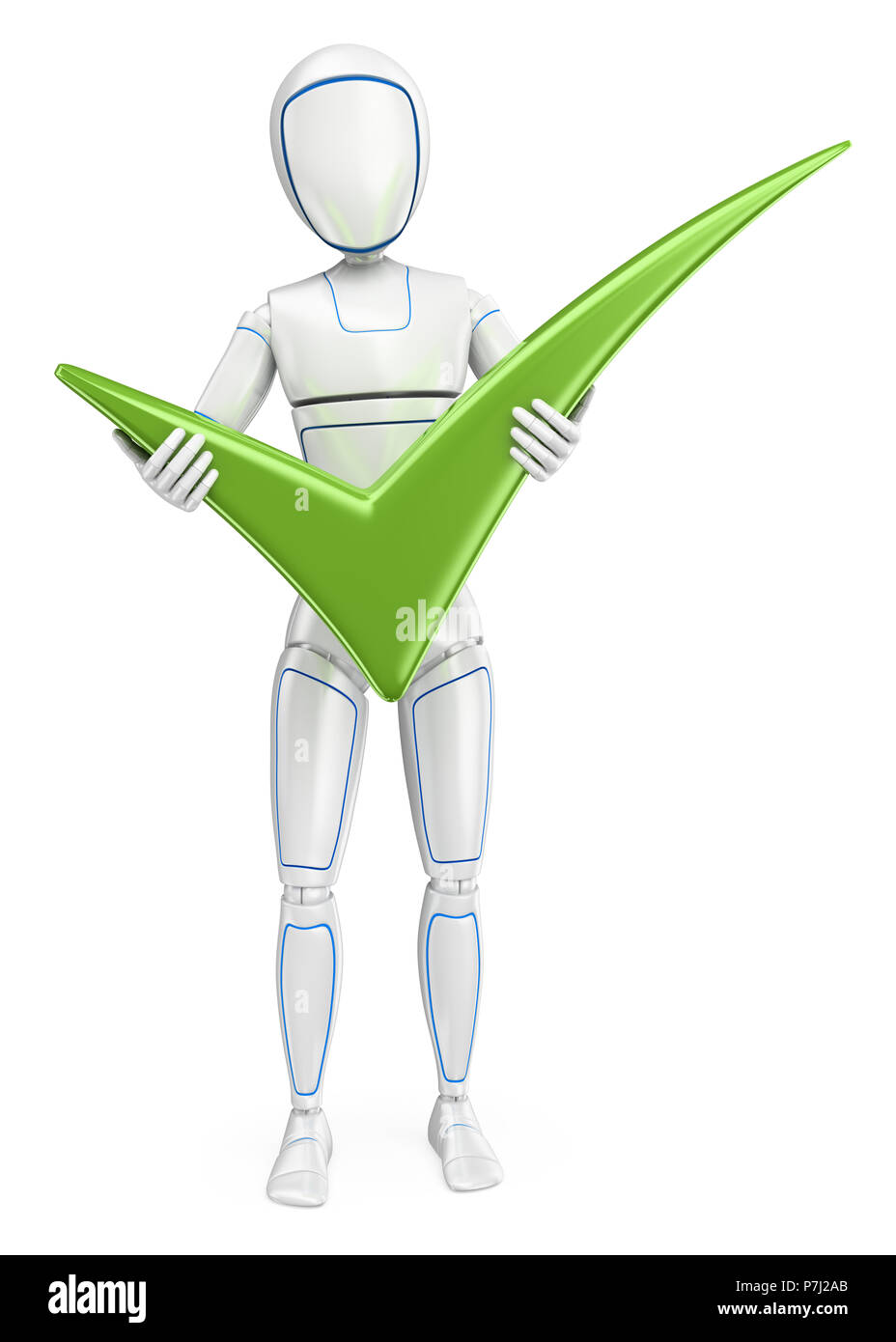 3d futuristic android illustration. Humanoid robot standing with a big green tick. Isolated white background. - Stock Image