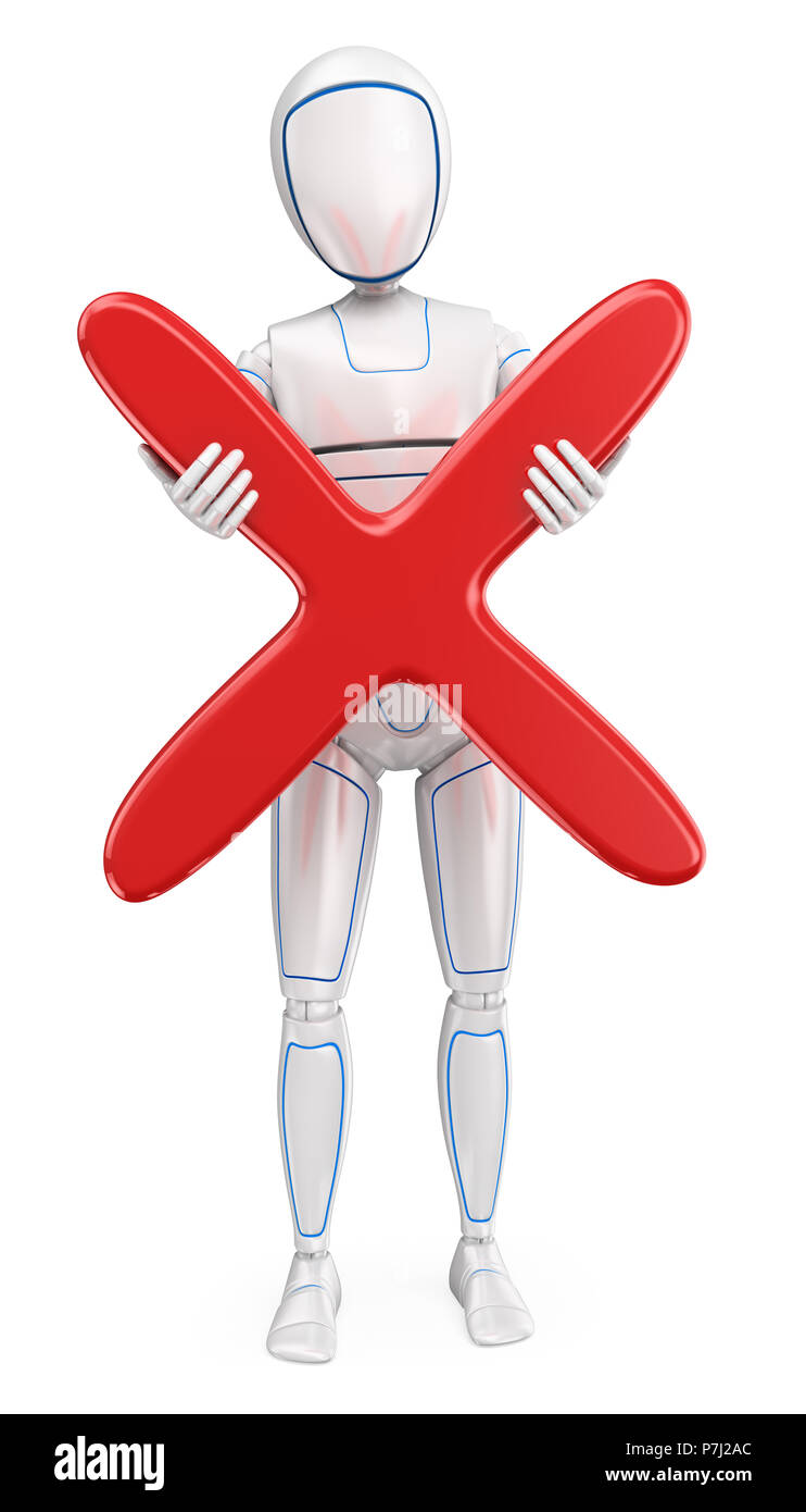 3d futuristic android illustration. Humanoid robot standing with a big red cross. Isolated white background. - Stock Image