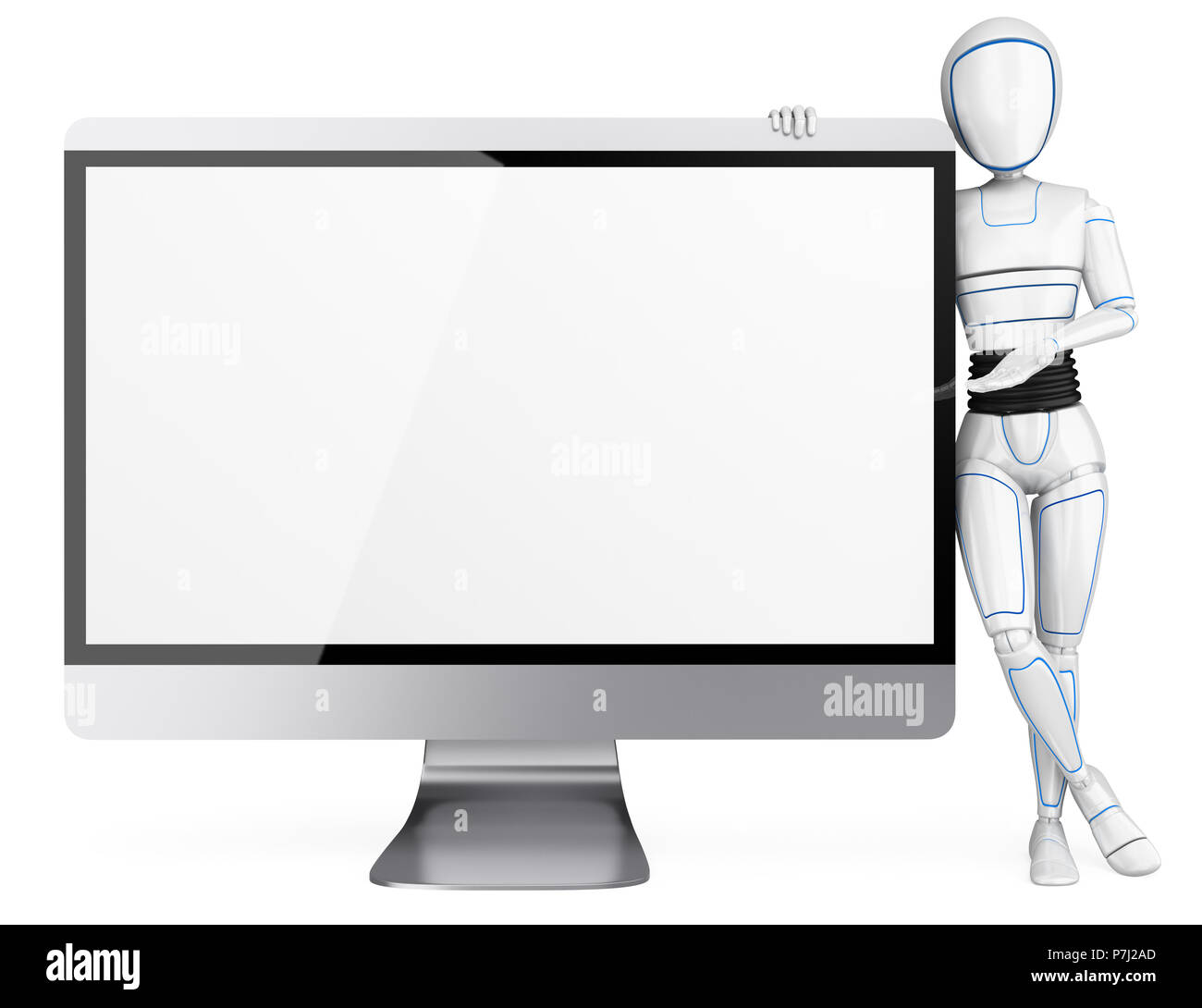 3d futuristic android illustration. Humanoid robot leaning on a big blank screen. Isolated white background. - Stock Image