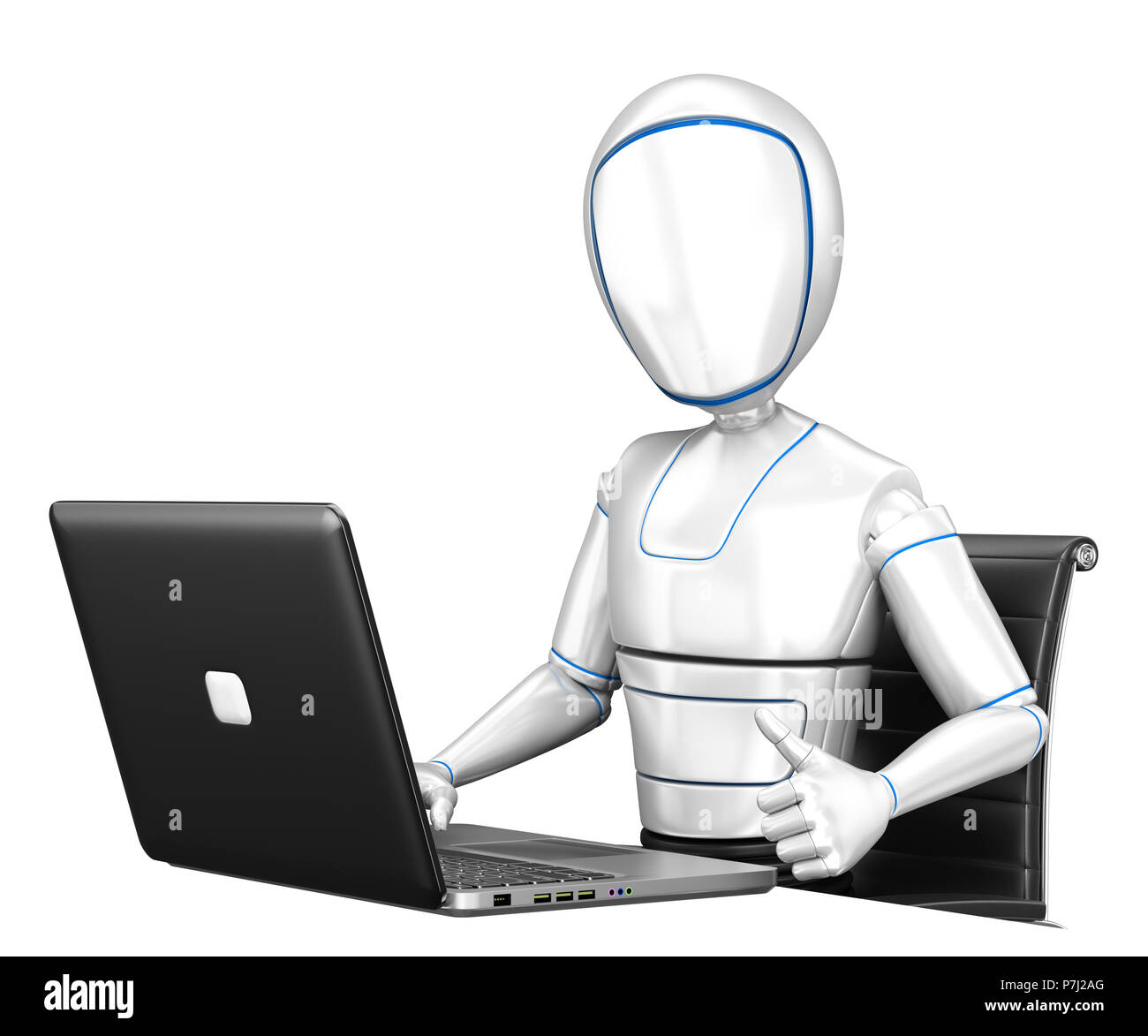 3d futuristic android illustration. Humanoid robot working with a laptop and thumb up. Isolated white background. - Stock Image