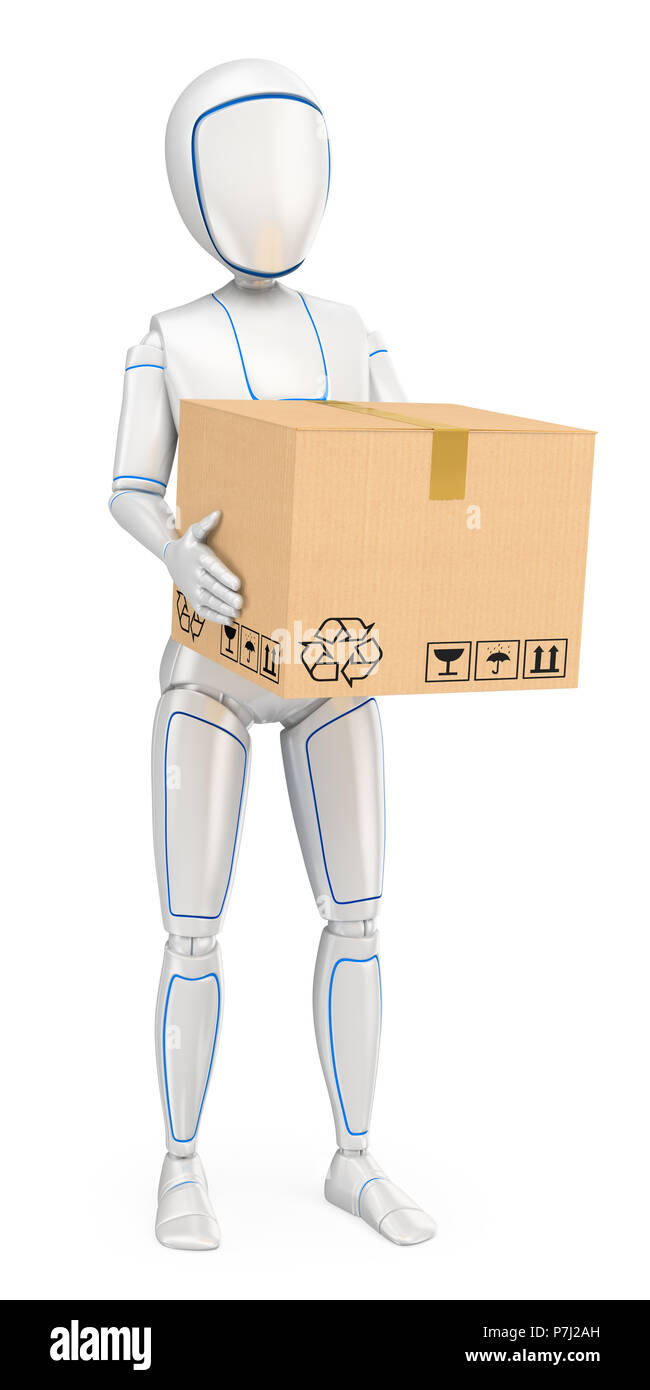 3d futuristic android illustration. Humanoid robot delivering a package. Isolated white background. - Stock Image