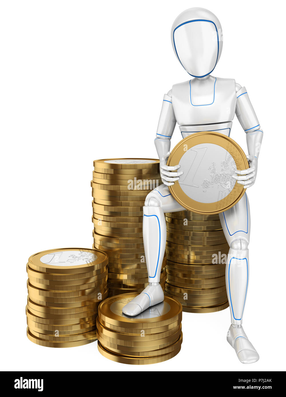 3d futuristic android illustration. Humanoid robot sitting on a pile of euro coins. Isolated white background. - Stock Image