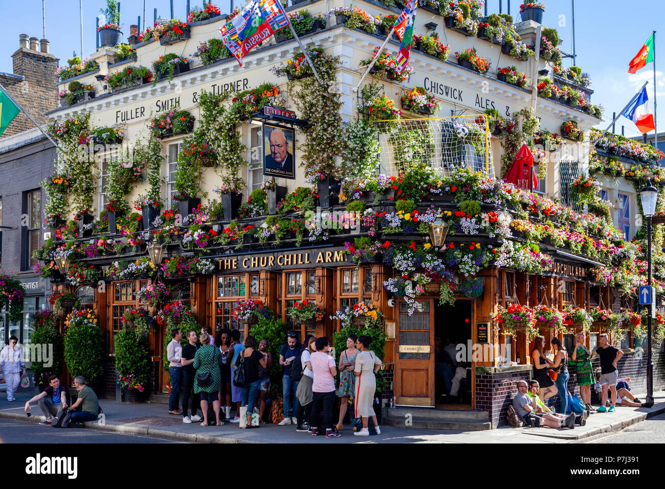 The Churchill Arms Pub, Kensington Church Street, London, United Kingdom - Stock Image