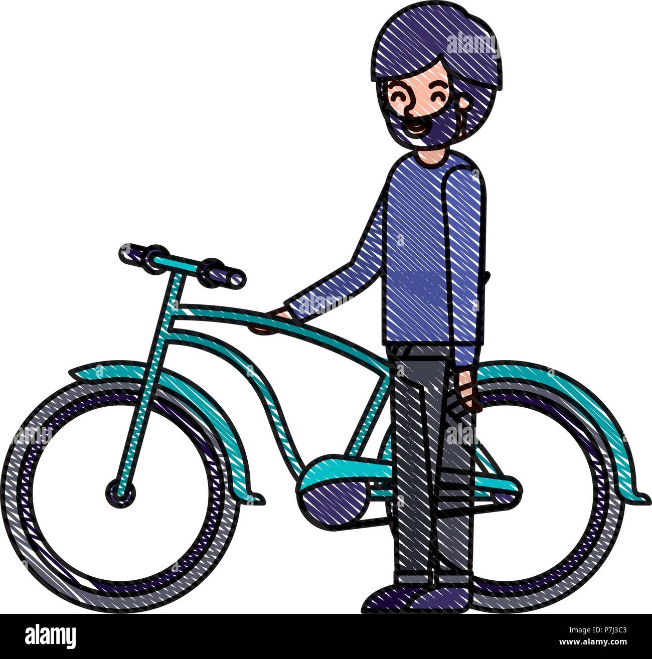 young man with bicycle avatar character - Stock Image