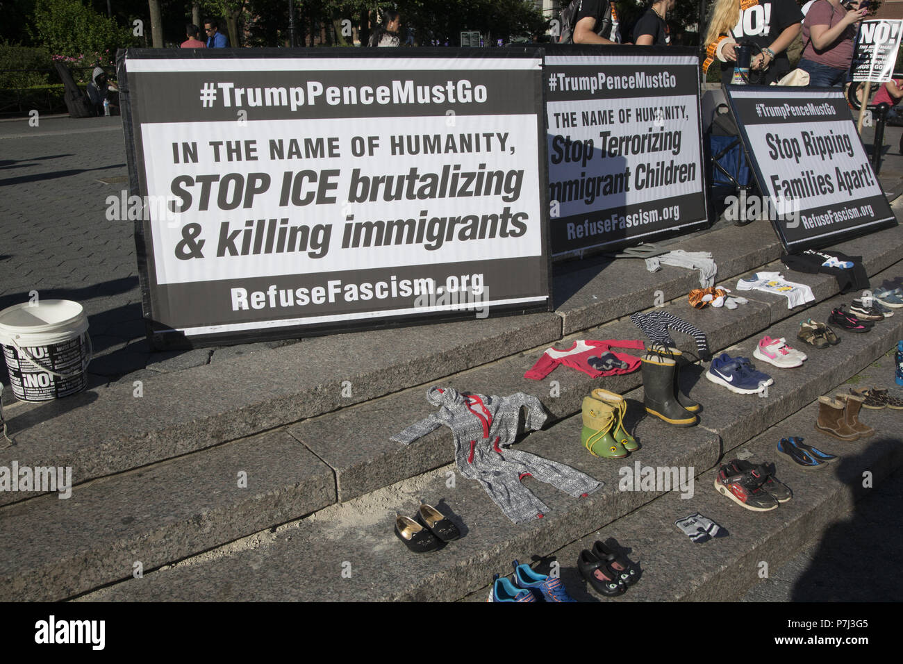 New Yorkers came out to protest the government immigrration policy of separating children from parents at the US Mexican border as cruel and immoral and must be stopped immediately. Protests around the country pressured the Trump administration to initially end this un American action by the Department of Immigration in the United States. - Stock Image