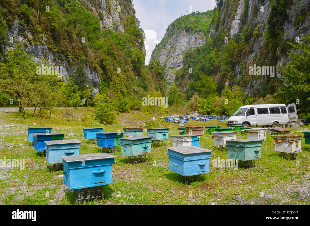An apiary in a mountain gorge. A lot of colorful hives against the background of mountains - Stock Image