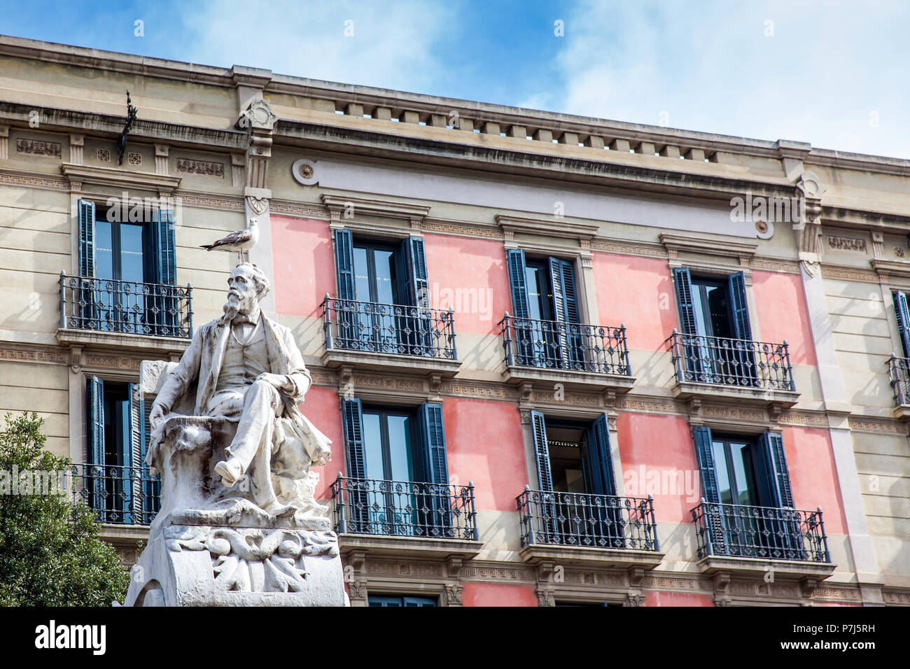 Monument to the dramaturge Frederic Soler located in the Theater Square in Barcelona Spain Stock Photo