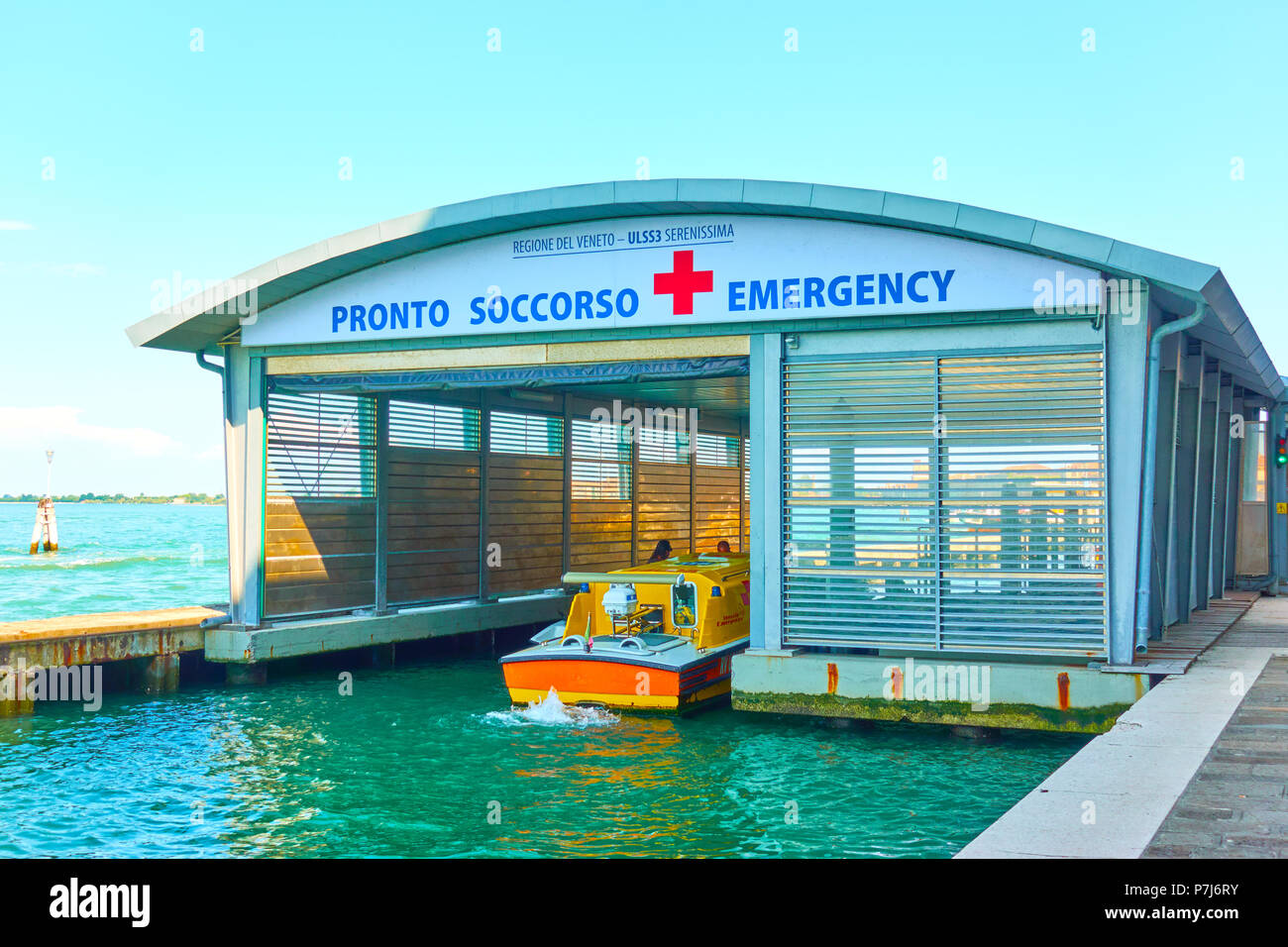 Venice, Italy - June 18, 2018:  Emergency medical service boat station  - Pronto Soccorso (it.) Stock Photo