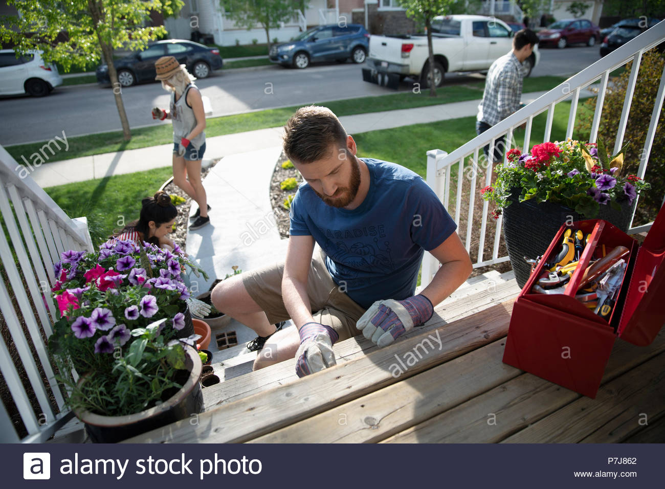 Man fixing wood steps on sunny front stoop - Stock Image