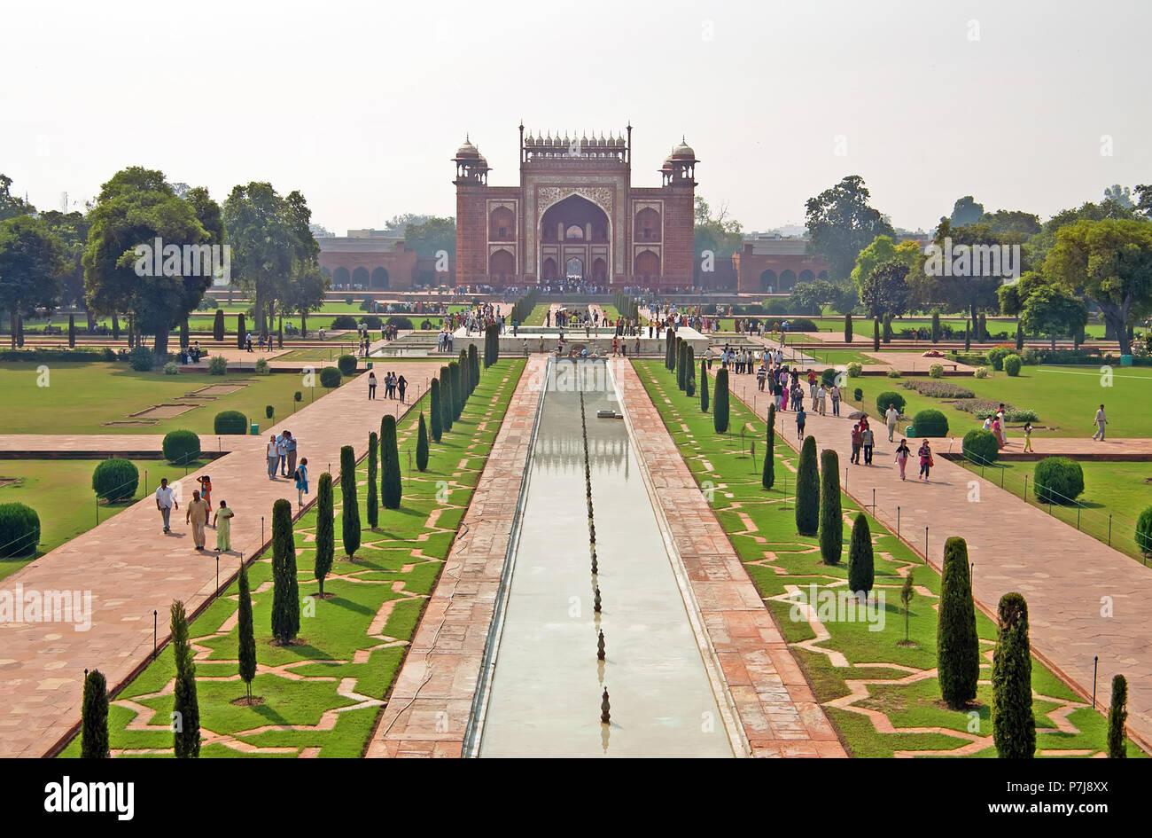 AGRA, INDIA - OCTOBER 18, 2008: view on entrance to Taj Mahal complex in Agra, India. It was commissioned in 1632 by the Mughal emperor - Stock Image
