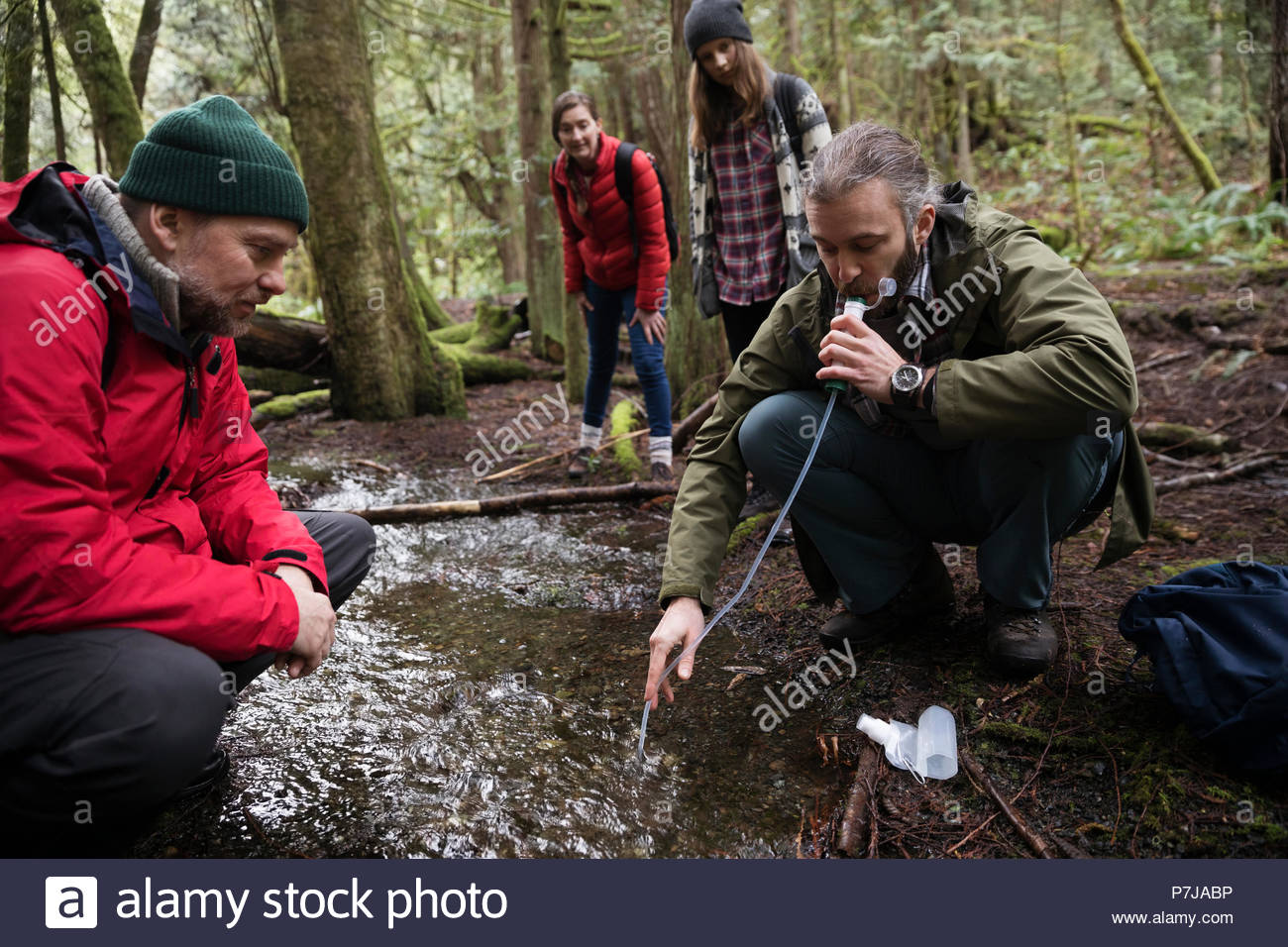 Trail guide and family drinking from stream in woods, using pump filter - Stock Image