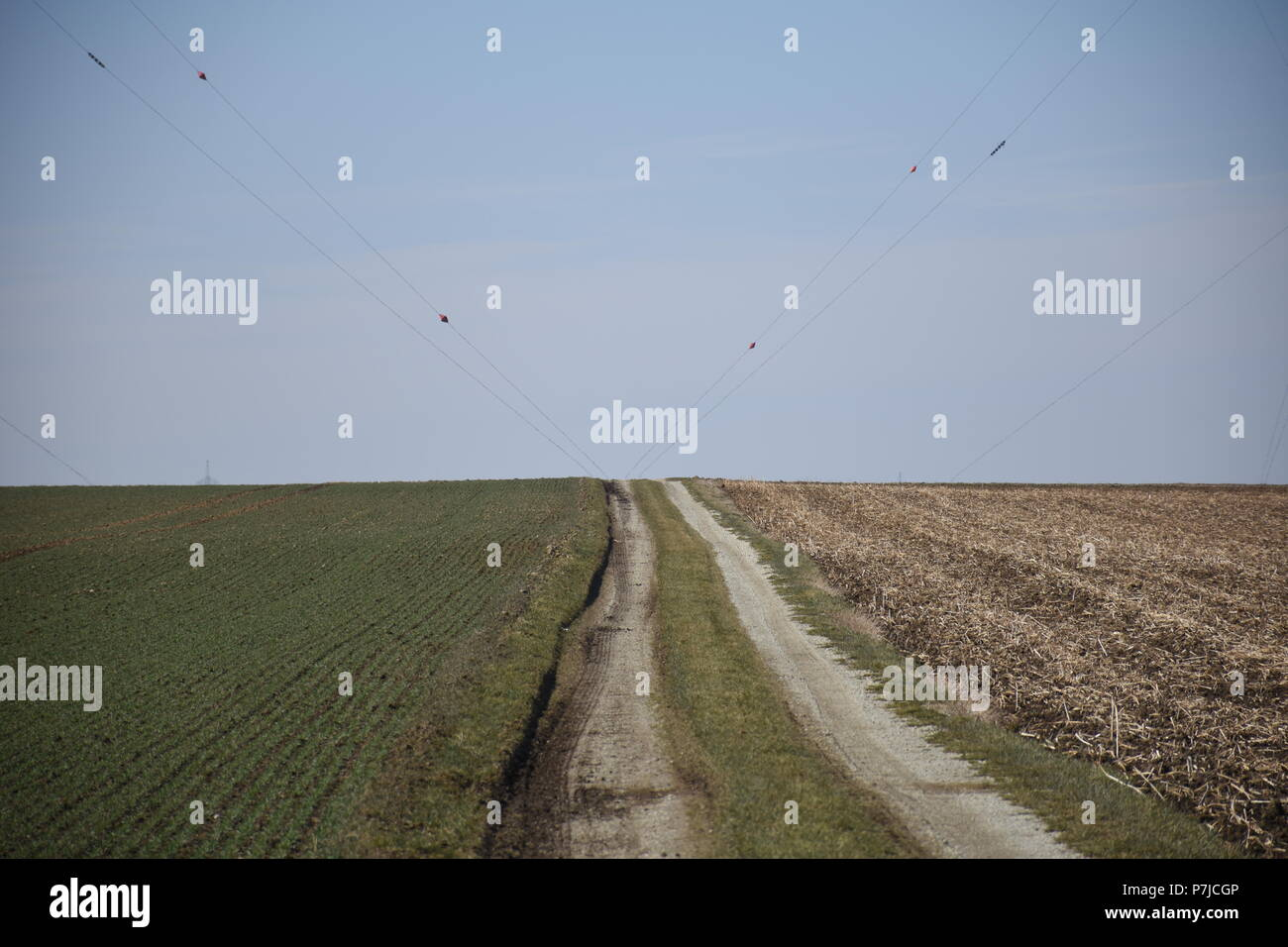 Aholming, Felder, Feld, Acker, gepflügt, umgepflügt, Scholle, Erde, Frühjahr, Frühling, Bayern, Niederbayern, Deutschland, Feldweg, Rain, Landwirtscha - Stock Image