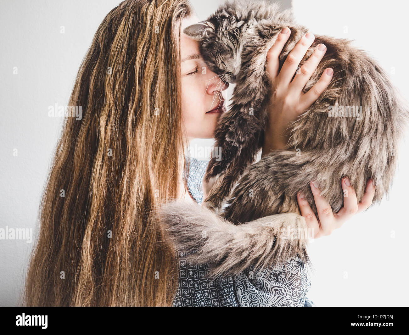 Stylish woman and fluffy kitten - Stock Image