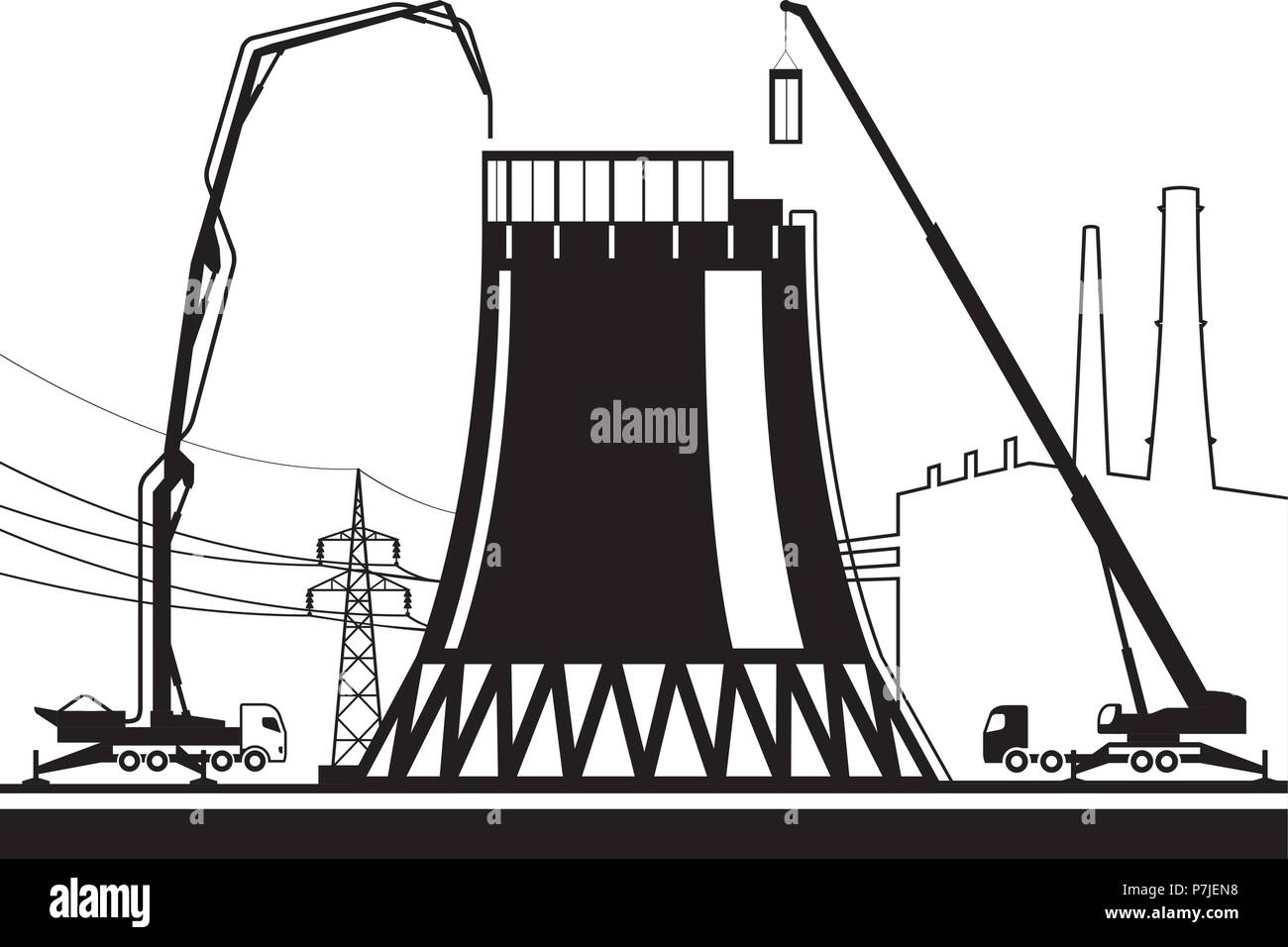 Construction of cooling tower in power plant - vector illustration - Stock Vector