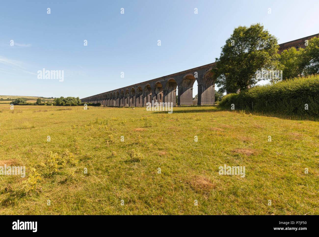 An image of the amazing Harringworth Viaduct with eighty-two arches and 1,275 yards long (1.166 km) shot in Northamptonshire, England, UK. - Stock Image