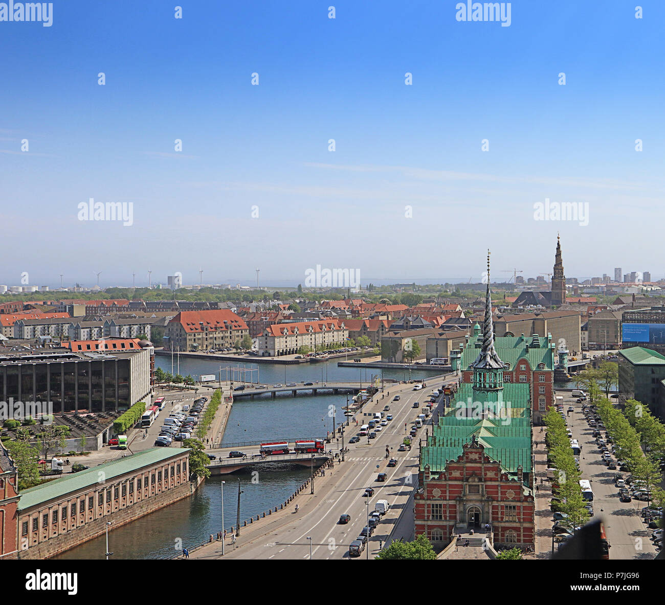 COPENHAGEN, DENMARK - MAY 17, 2018 - Panoramic view of Copenhagen from the  tower of Christiansborg Palace, house of the danish Parliament: on the rig - Stock Image