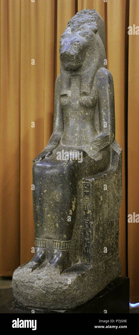 Statue of the Goddes Sekhmet-Mut. 14th c. BC. New kingdom, 18th Dynasty. Granite. The State Hermitage Museum. Saint Petersburg. Russia. Stock Photo