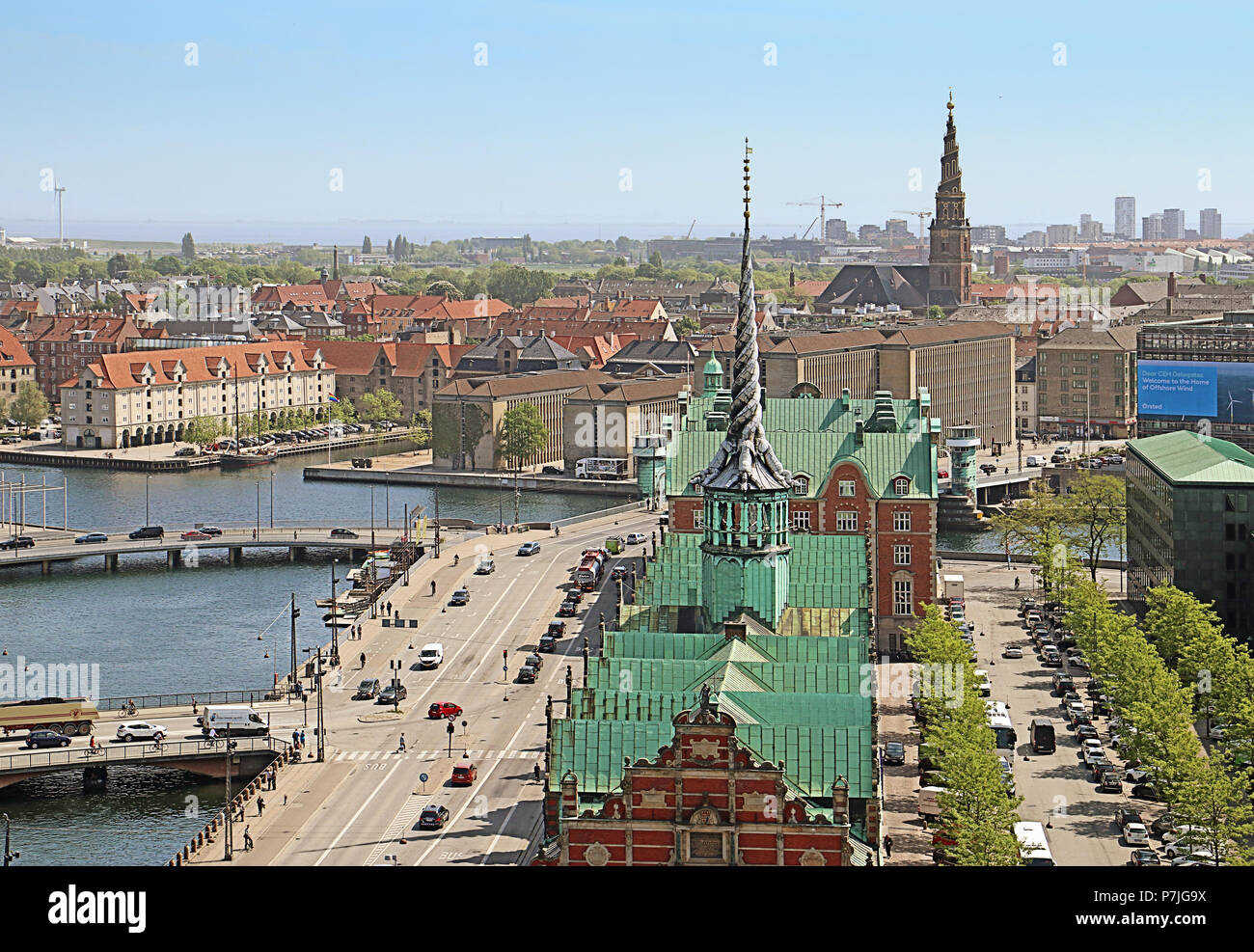 COPENHAGEN, DENMARK - MAY 17, 2018 - Panoramic view of Copenhagen from the  tower of Christiansborg Palace, house of the danish Parliament: in center  - Stock Image