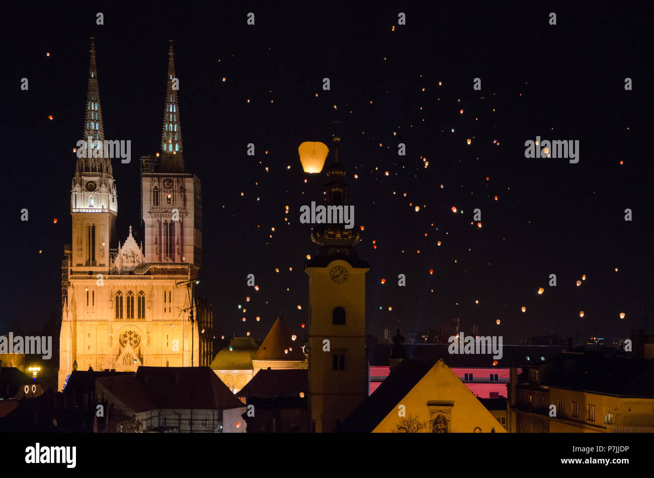 Floating Lanterns Festival In Zagreb Croatia With Cathedral In Background Stock Photo Alamy