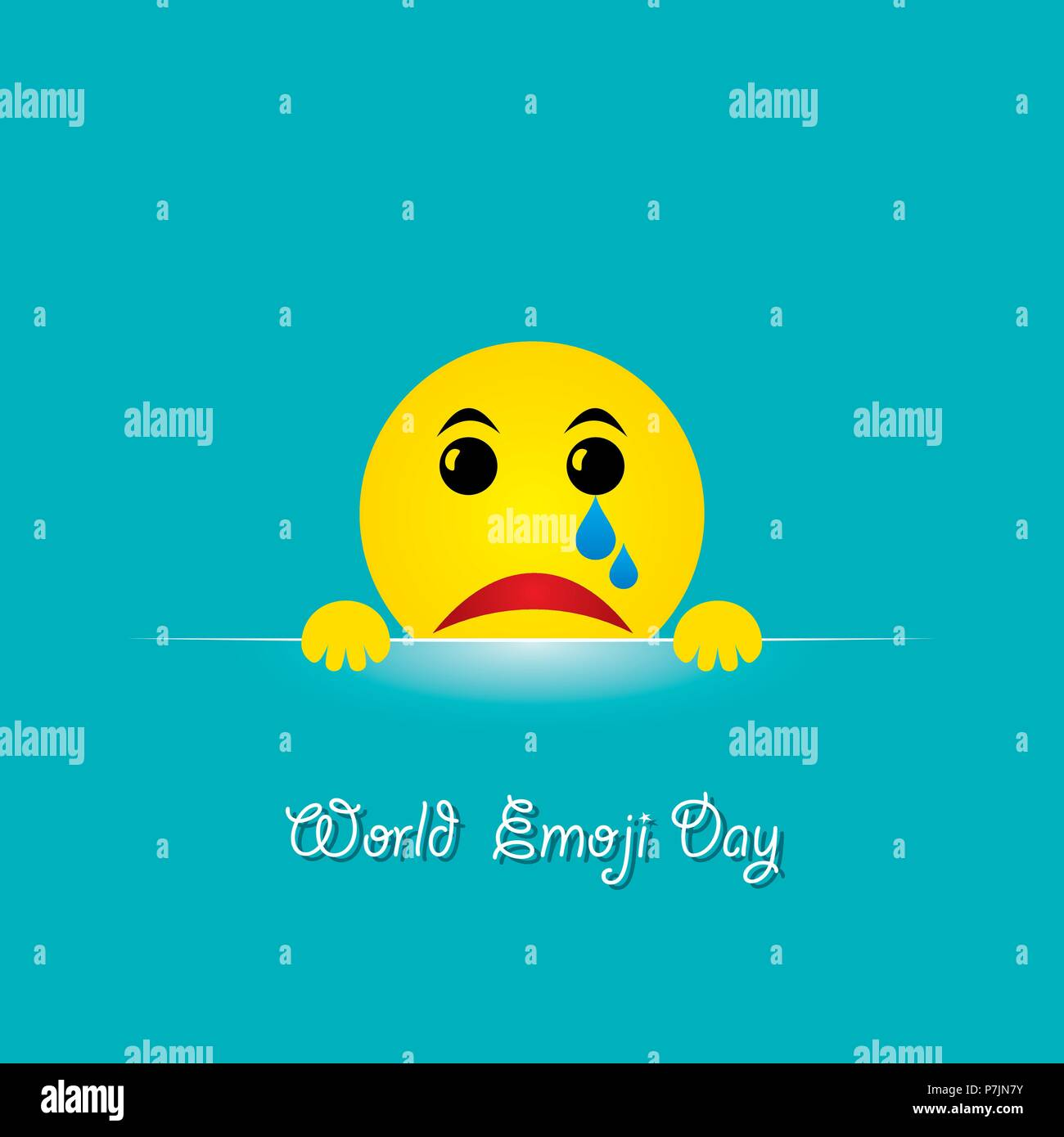 World emoji day greeting card design template with different feelings - Stock Image