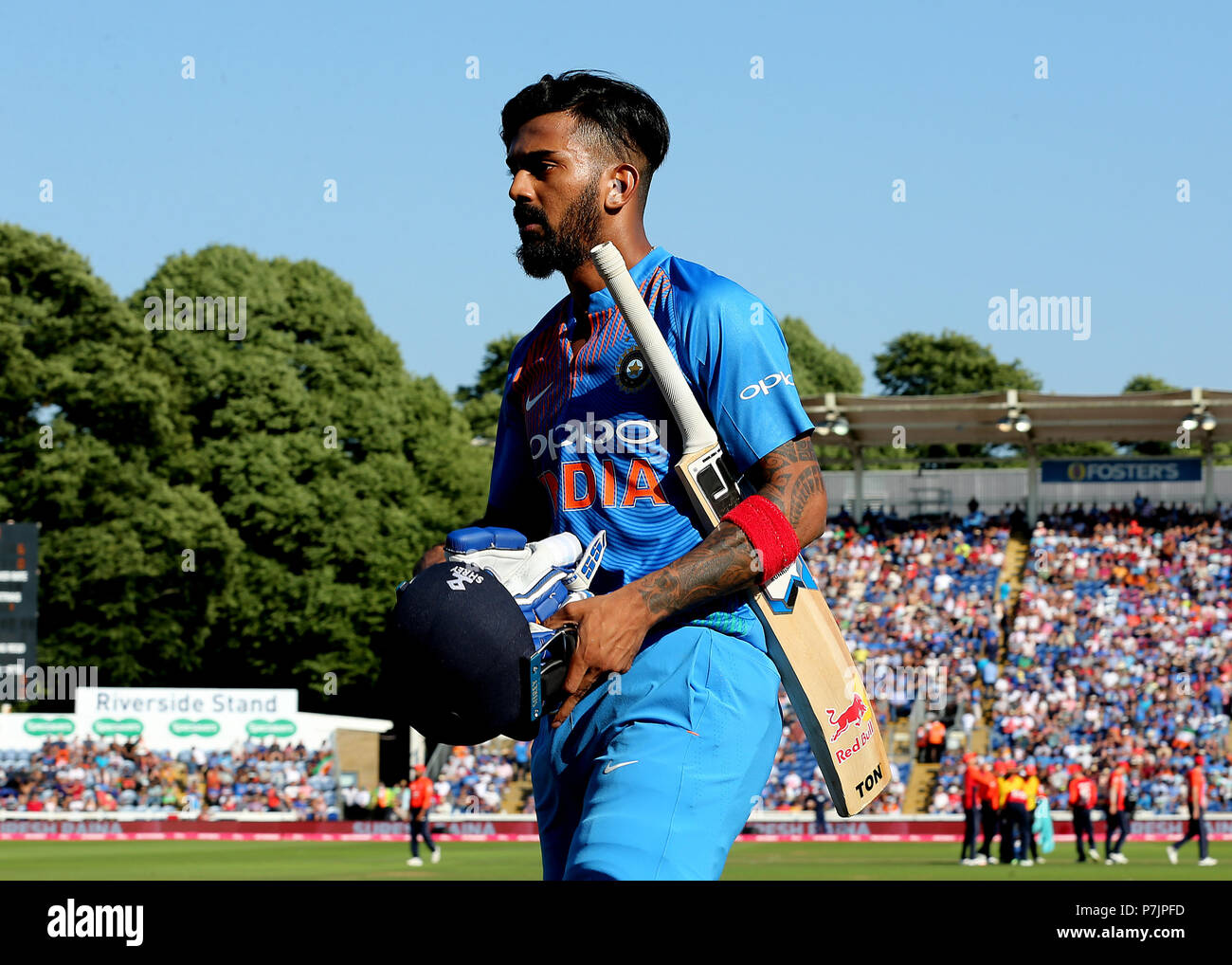 India's KL Rahul looks dejected as he leaves the field after being bowled out by England's Liam Plunkett during the Vitality IT20 Series Match at The SSE SWALEC, Cardiff. - Stock Image