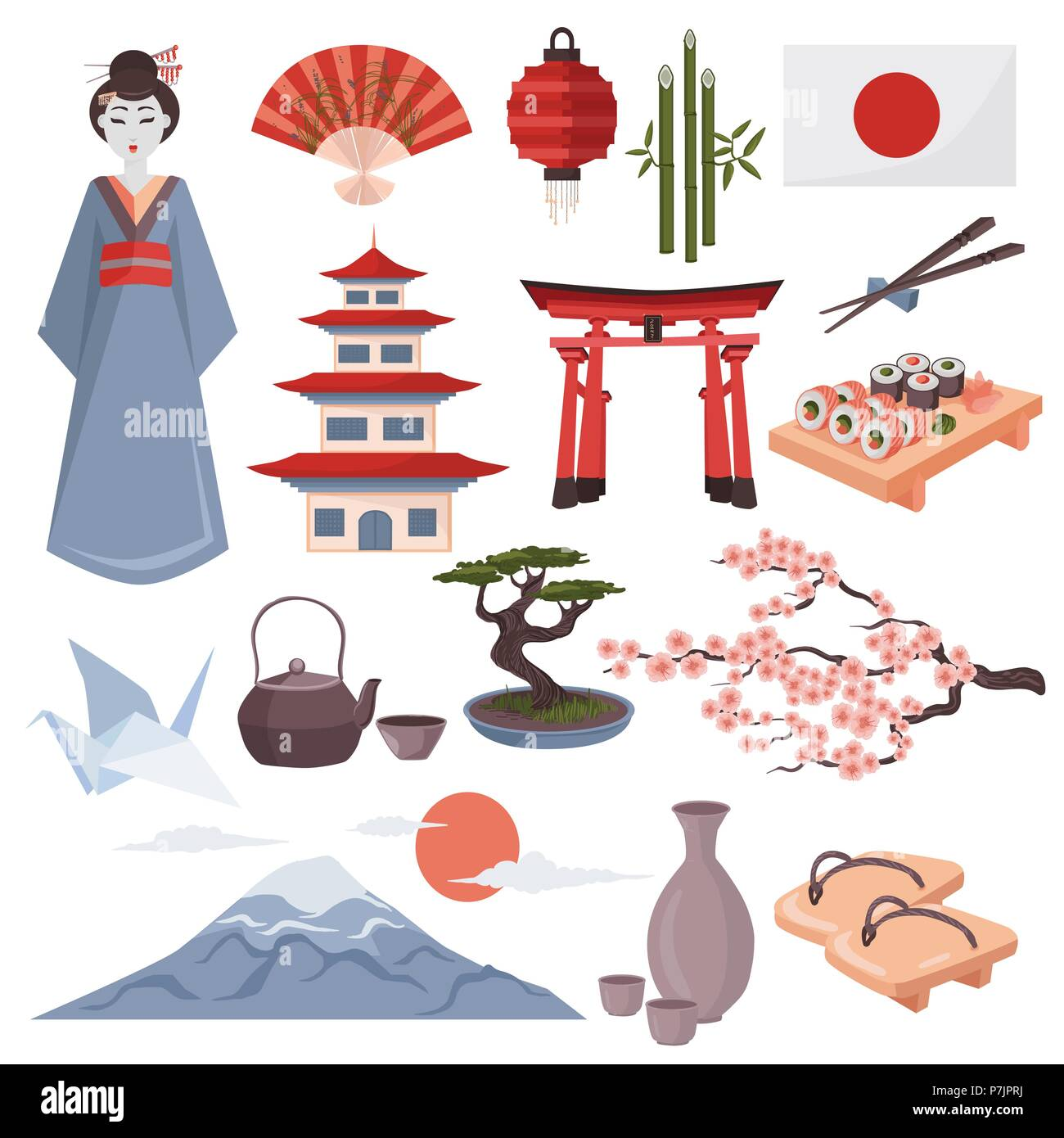 Japanese symbols vector illustration.  Colorful set of Japan culture icons isolated on white background. Torii, Fujiyama, Japanese temple etc. Stock Vector
