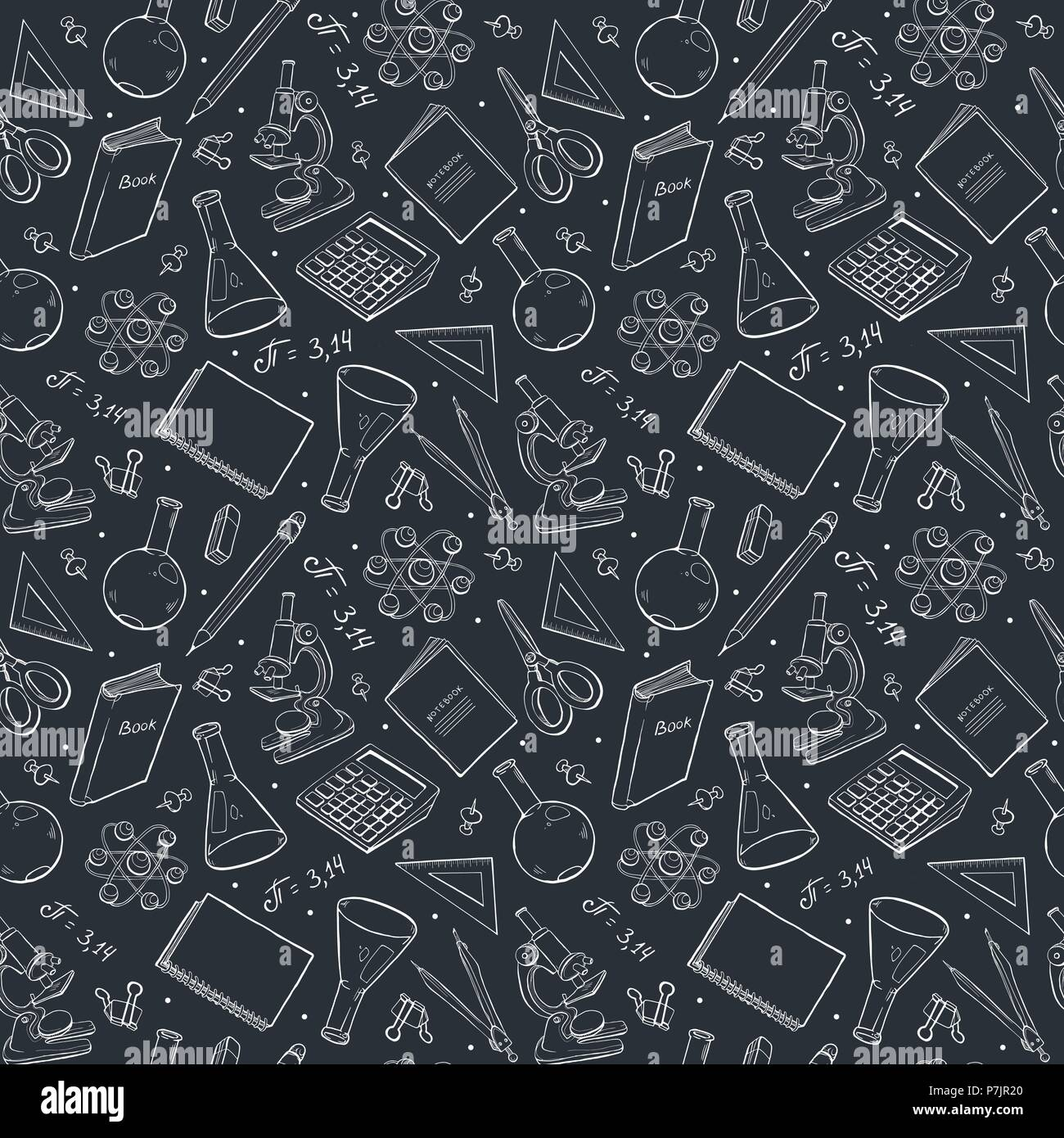school doodle background vector seamless pattern from school