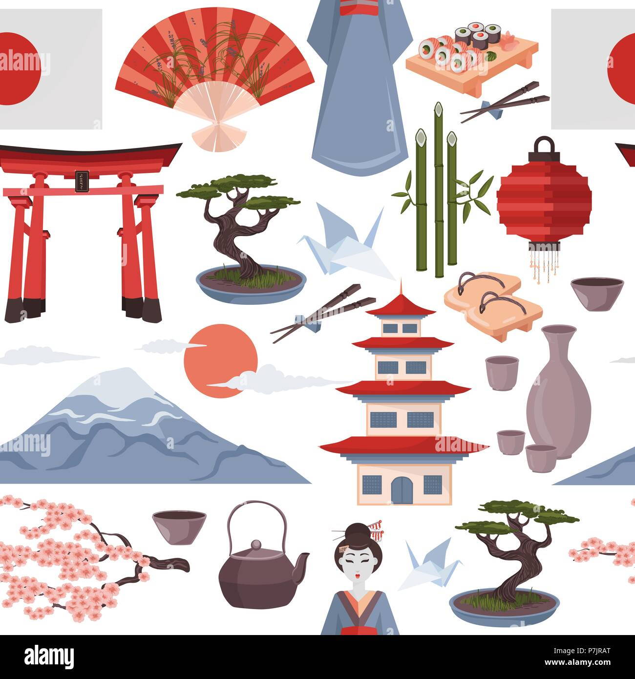 Japanese Symbols Seamless Pattern Vector Iluustration On White